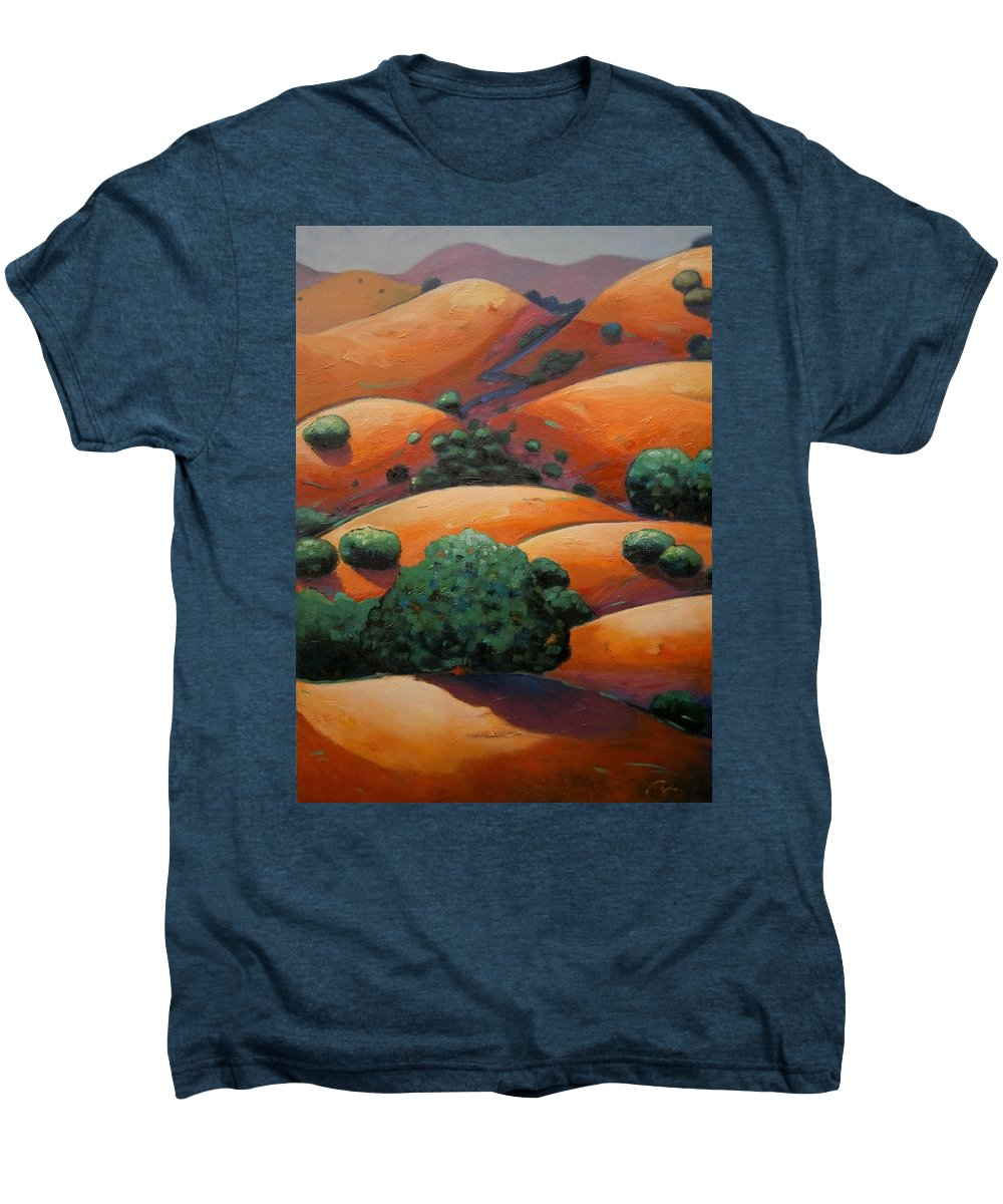 California Landscape Men's Premium T-Shirt featuring the painting Warm Afternoon Light On Ca Hillside by Gary Coleman
