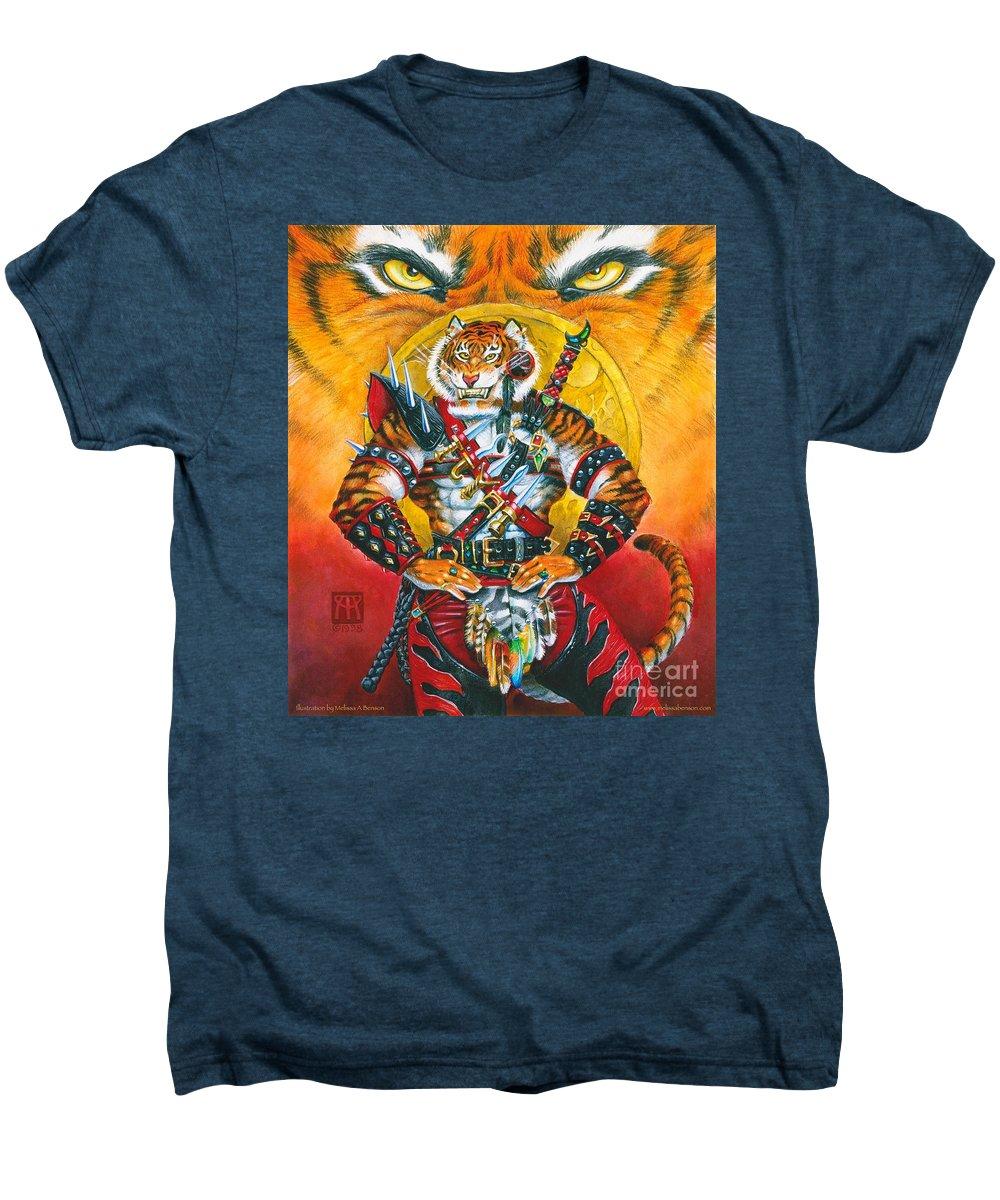 Fantasy Men's Premium T-Shirt featuring the painting Werecat Warrior by Melissa A Benson