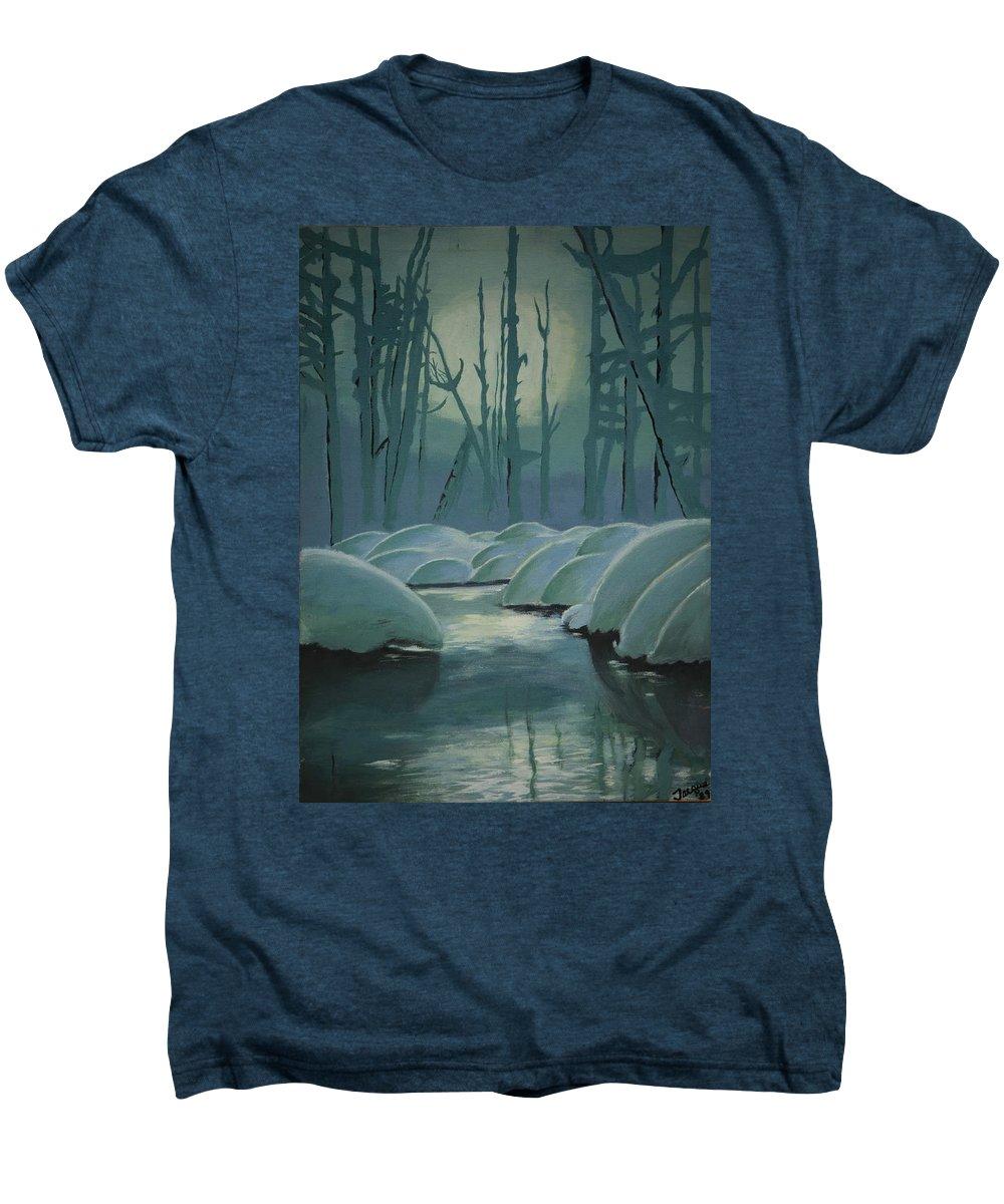 River Men's Premium T-Shirt featuring the painting Winter Quiet by Jacqueline Athmann