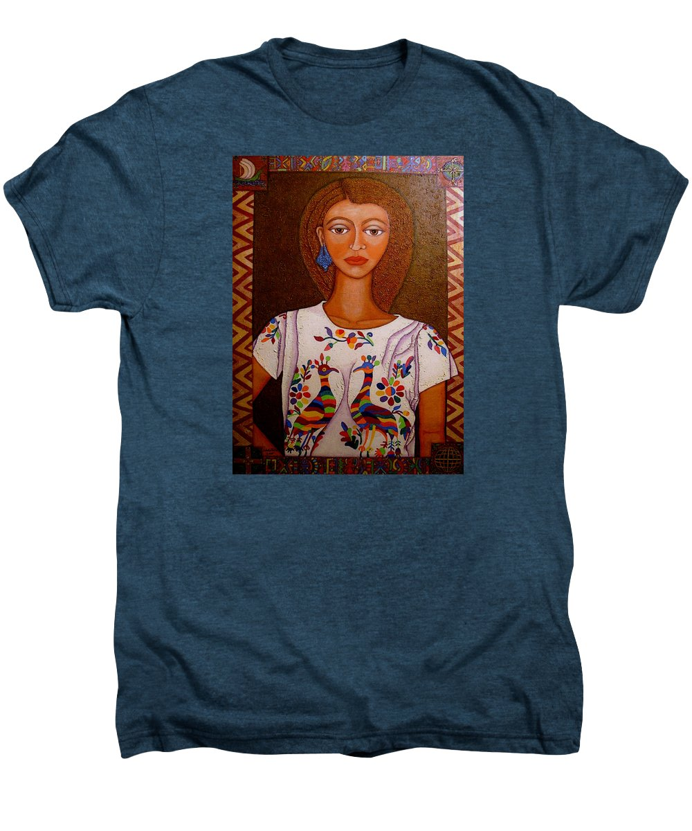 Woman Men's Premium T-Shirt featuring the painting Women Below And Beyond The Sea by Madalena Lobao-Tello