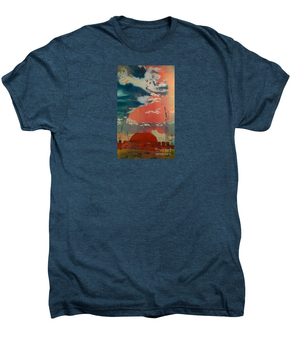 Orange Men's Premium T-Shirt featuring the painting Yin And Yang by Elizabeth Carr