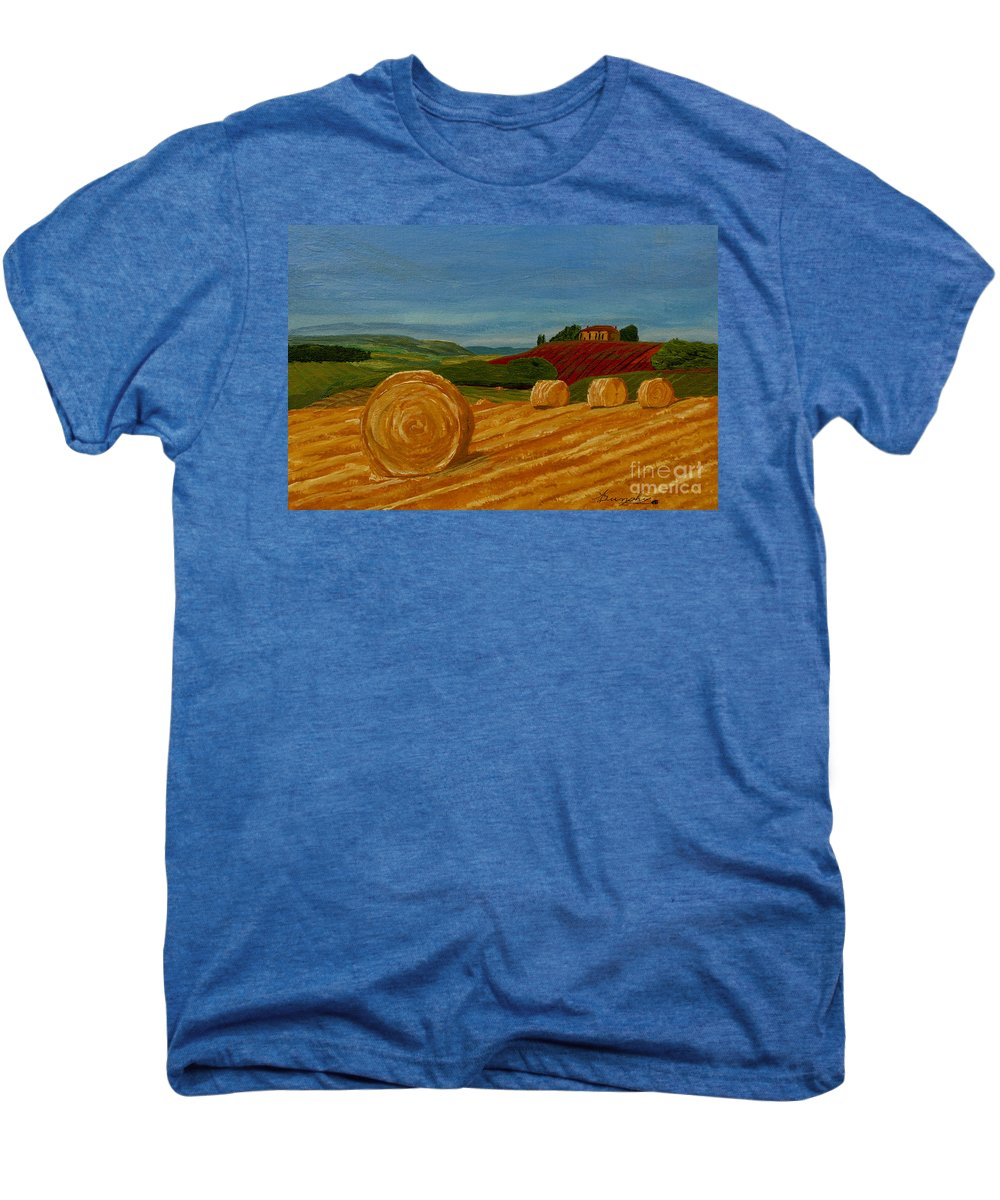 Hay Men's Premium T-Shirt featuring the painting Field Of Golden Hay by Anthony Dunphy