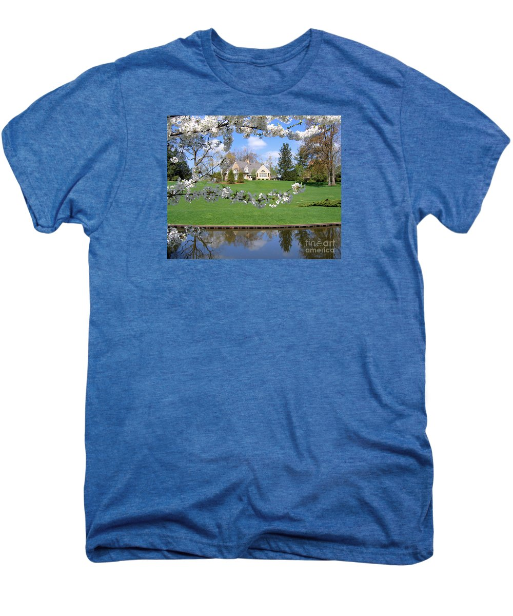 Spring Men's Premium T-Shirt featuring the photograph Blossom-framed House by Ann Horn
