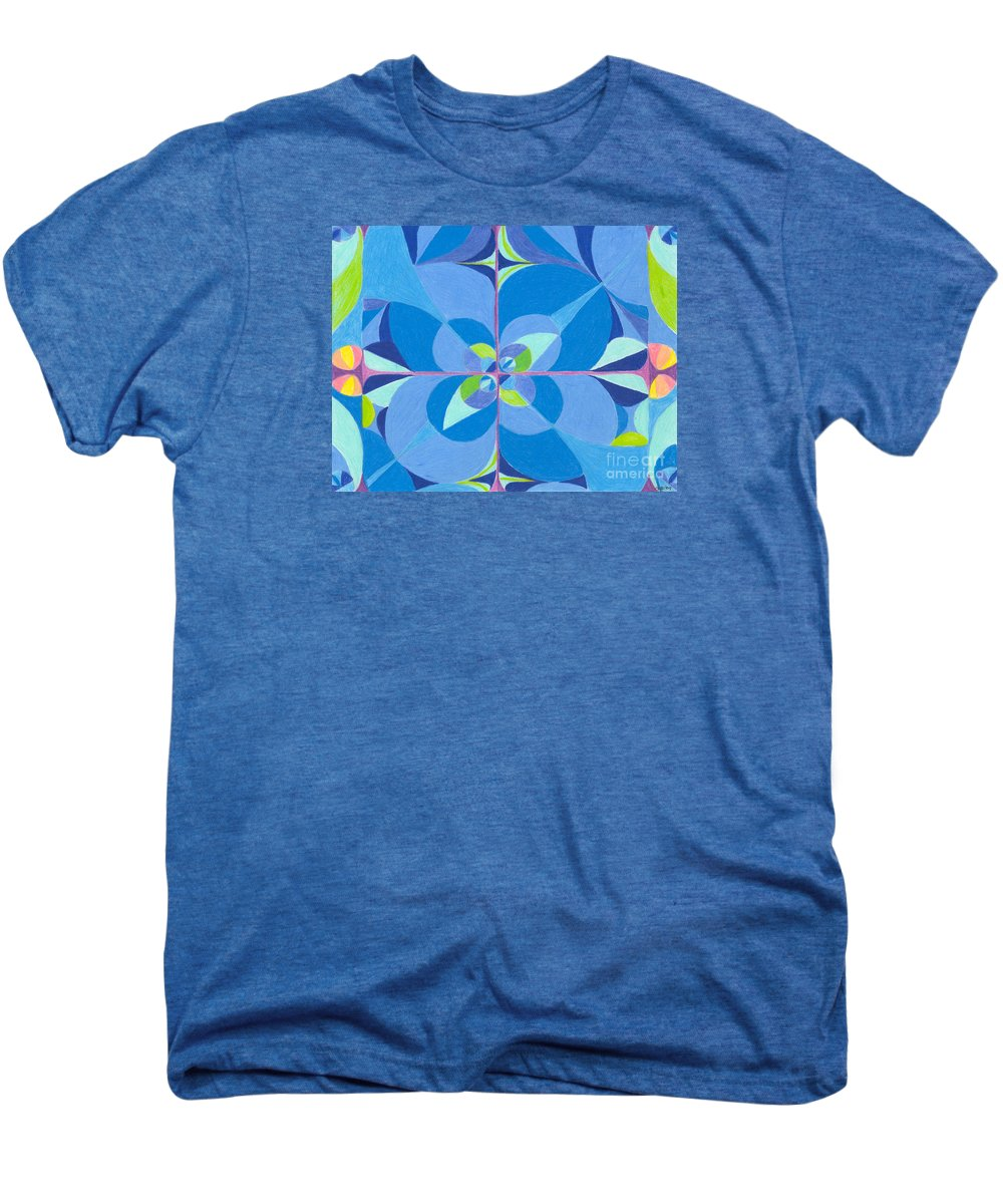 Color Men's Premium T-Shirt featuring the drawing Blue Unity by Kim Sy Ok