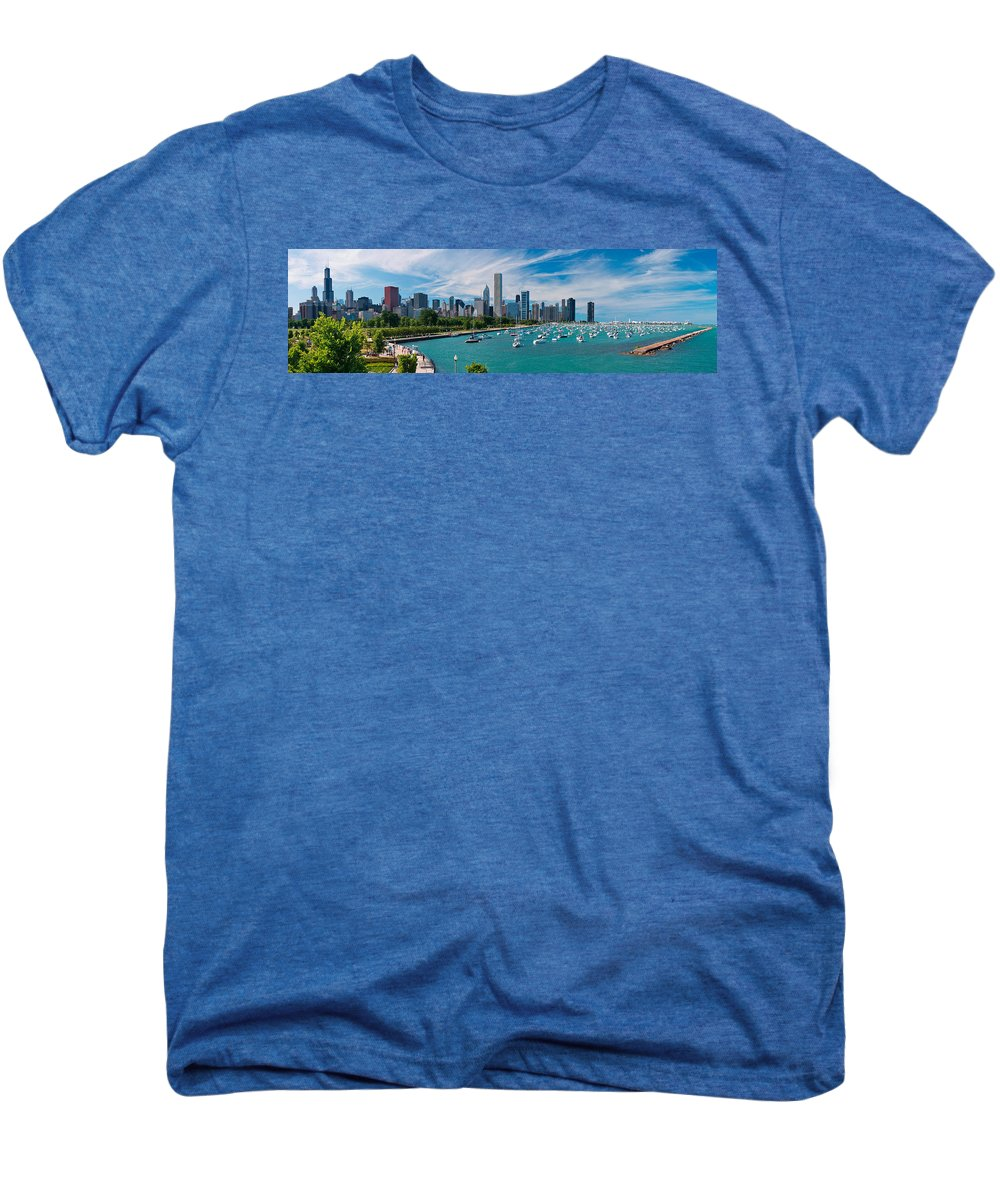 3scape Men's Premium T-Shirt featuring the photograph Chicago Skyline Daytime Panoramic by Adam Romanowicz