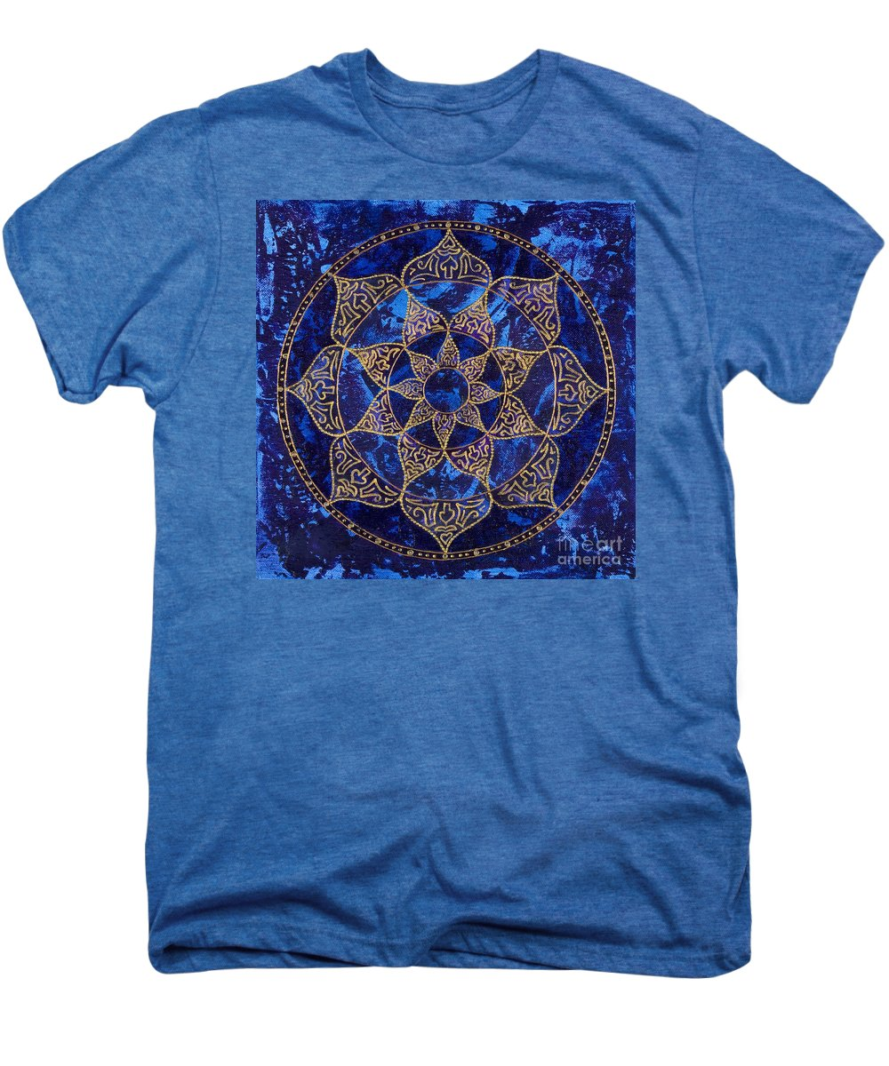 Mandala Men's Premium T-Shirt featuring the painting Cosmic Blue Lotus by Charlotte Backman