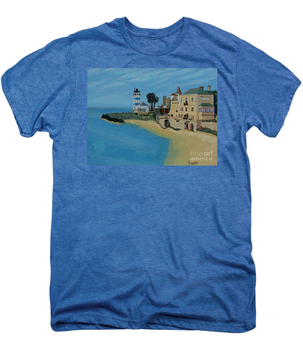 Lighthouse Men's Premium T-Shirt featuring the painting European Lighthouse by Anthony Dunphy