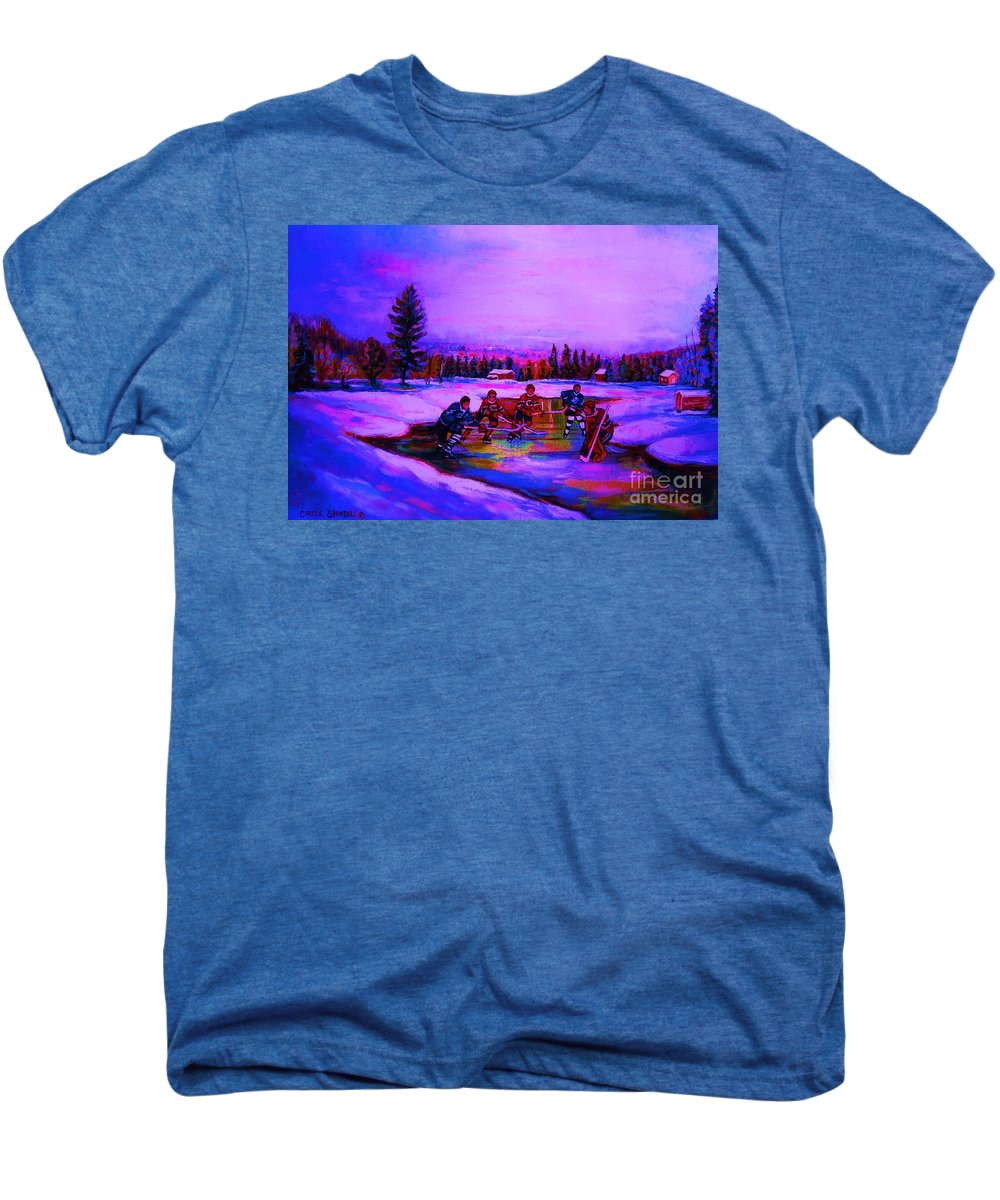 Hockey Men's Premium T-Shirt featuring the painting Frozen Pond by Carole Spandau