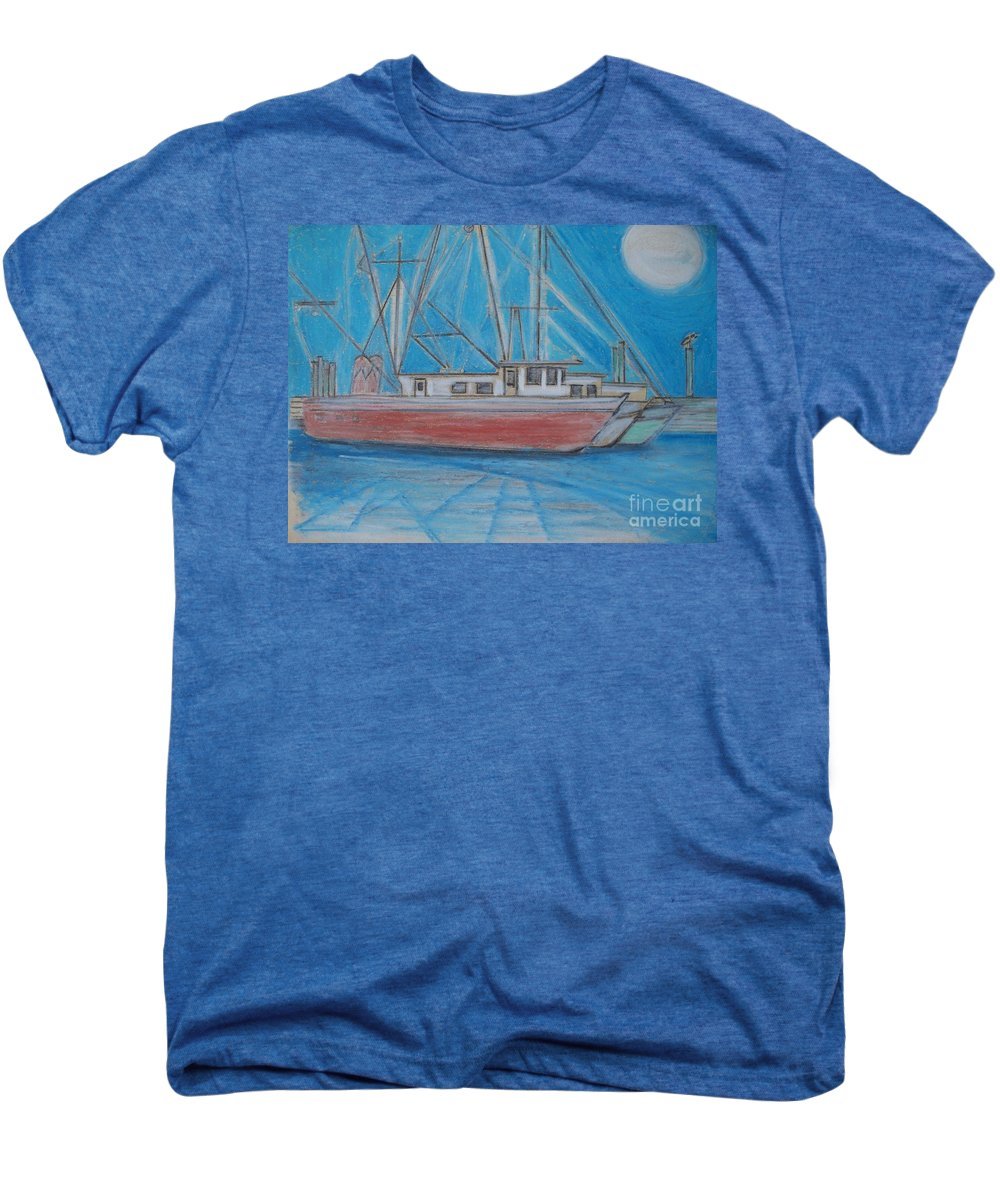 Night Men's Premium T-Shirt featuring the painting Night Fishing by Eric Schiabor