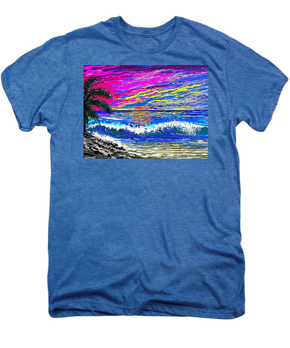 Ocean Sunset Quickly Sketched In One Hour. Men's Premium T-Shirt featuring the digital art Ocean Sunset by Larry Lehman