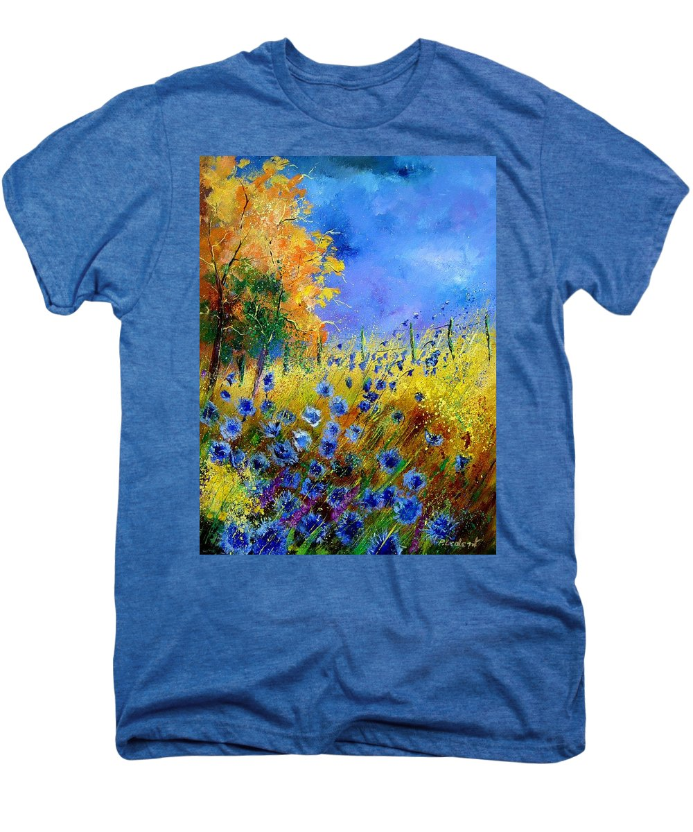 Poppies Men's Premium T-Shirt featuring the painting Orange Tree And Blue Cornflowers by Pol Ledent