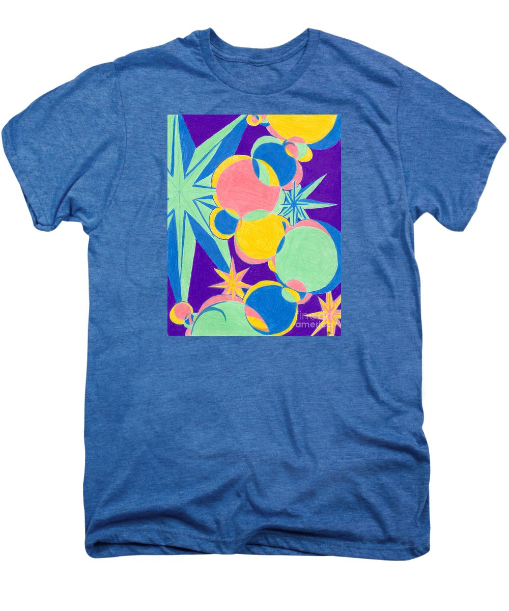 Color Men's Premium T-Shirt featuring the drawing Planets And Stars by Kim Sy Ok