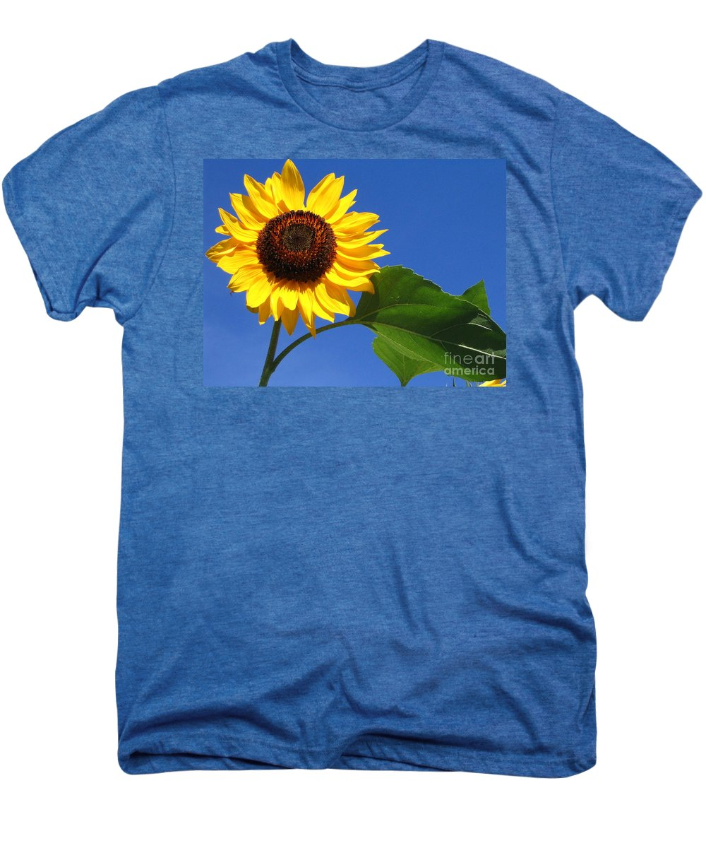 Sunflower Men's Premium T-Shirt featuring the photograph Sunflower Alone by Line Gagne