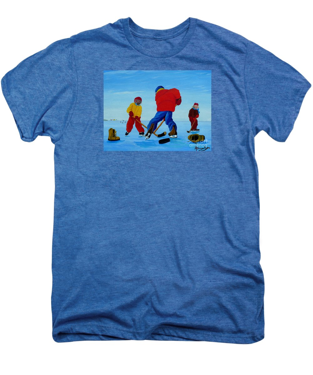 Winter Men's Premium T-Shirt featuring the painting The Pond Hockey Game by Anthony Dunphy
