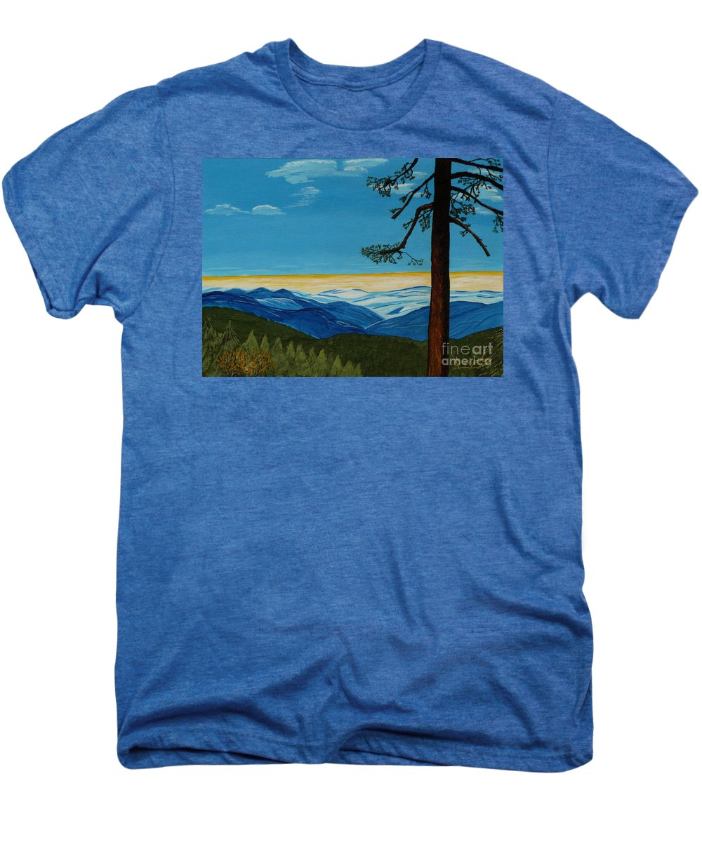 Mountain Men's Premium T-Shirt featuring the painting Tranquil Solitude by Anthony Dunphy