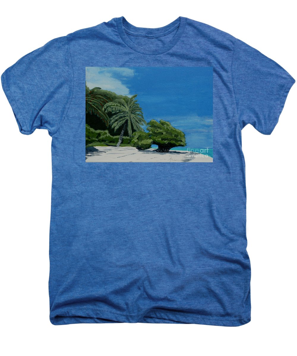 Beach Men's Premium T-Shirt featuring the painting Tropical Beach by Anthony Dunphy