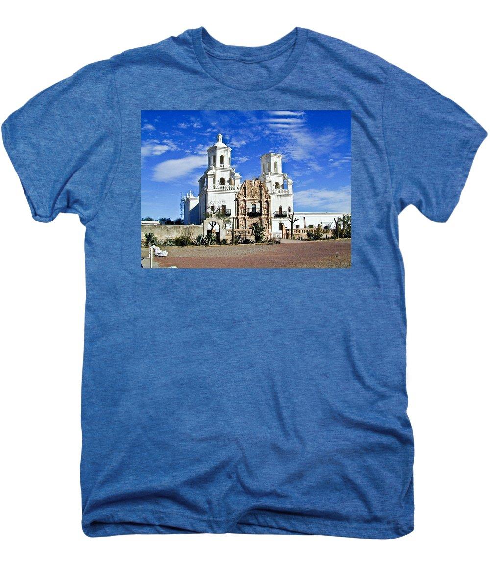 Mission San Xavier Del Bac Men's Premium T-Shirt featuring the photograph Xavier Tucson Arizona by Douglas Barnett