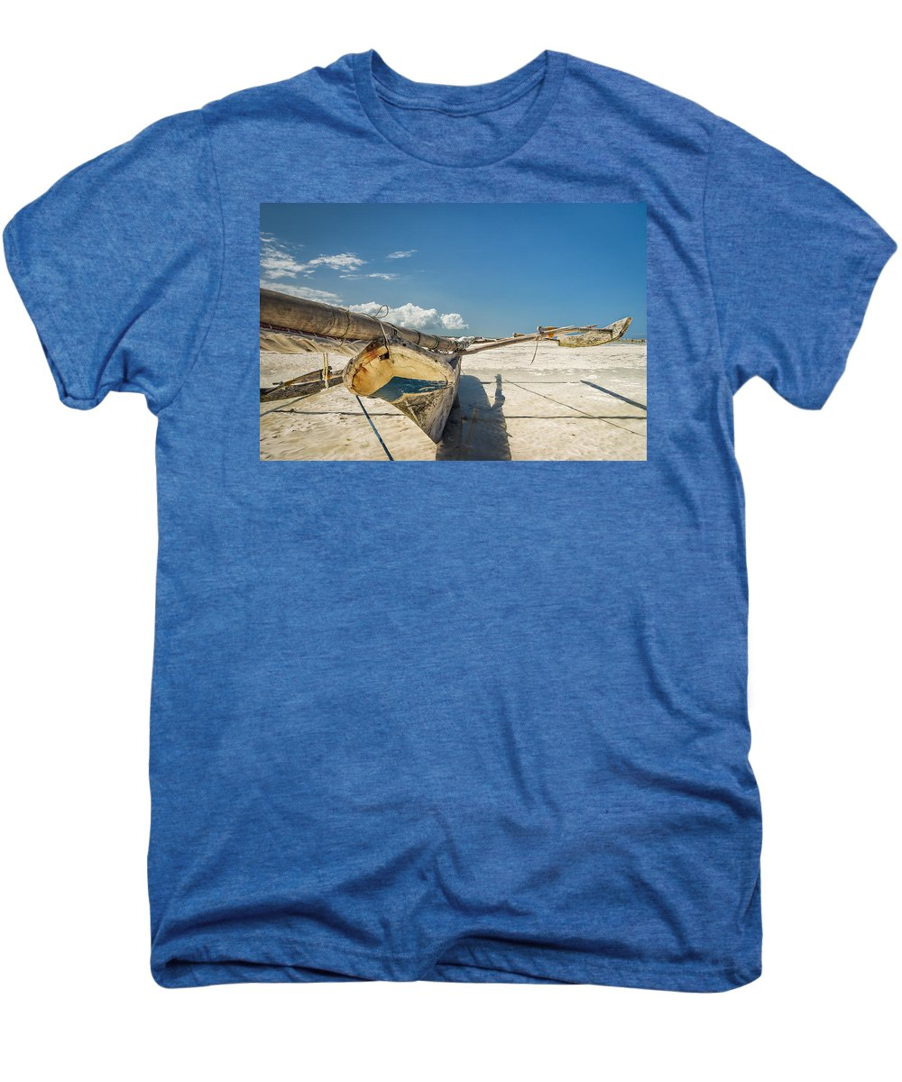 3scape Men's Premium T-Shirt featuring the photograph Zanzibar Outrigger by Adam Romanowicz