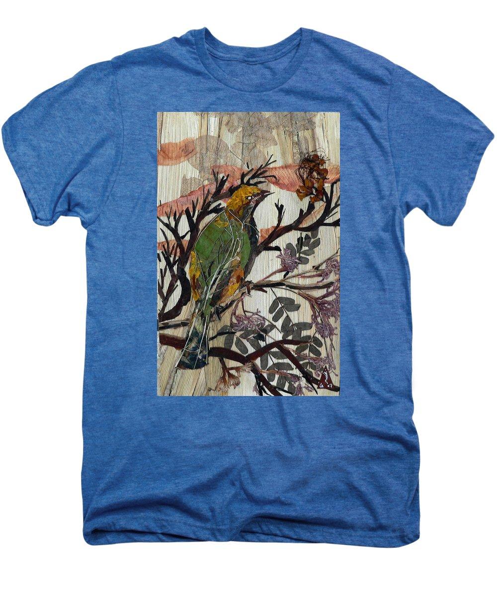 Green Bird Men's Premium T-Shirt featuring the mixed media Green-yellow Bird by Basant Soni