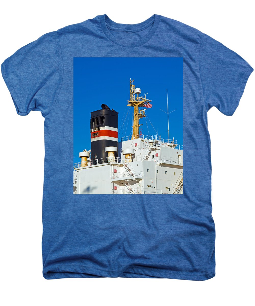 Cape; Canaveral; Port; Florida; Atlantic; Ship; Boat; Freight; Freighter; Bulk; Coal; Unloading; Loa Men's Premium T-Shirt featuring the photograph Tramp Steamer Unloading Coal At Port Canaveral In Florida by Allan Hughes