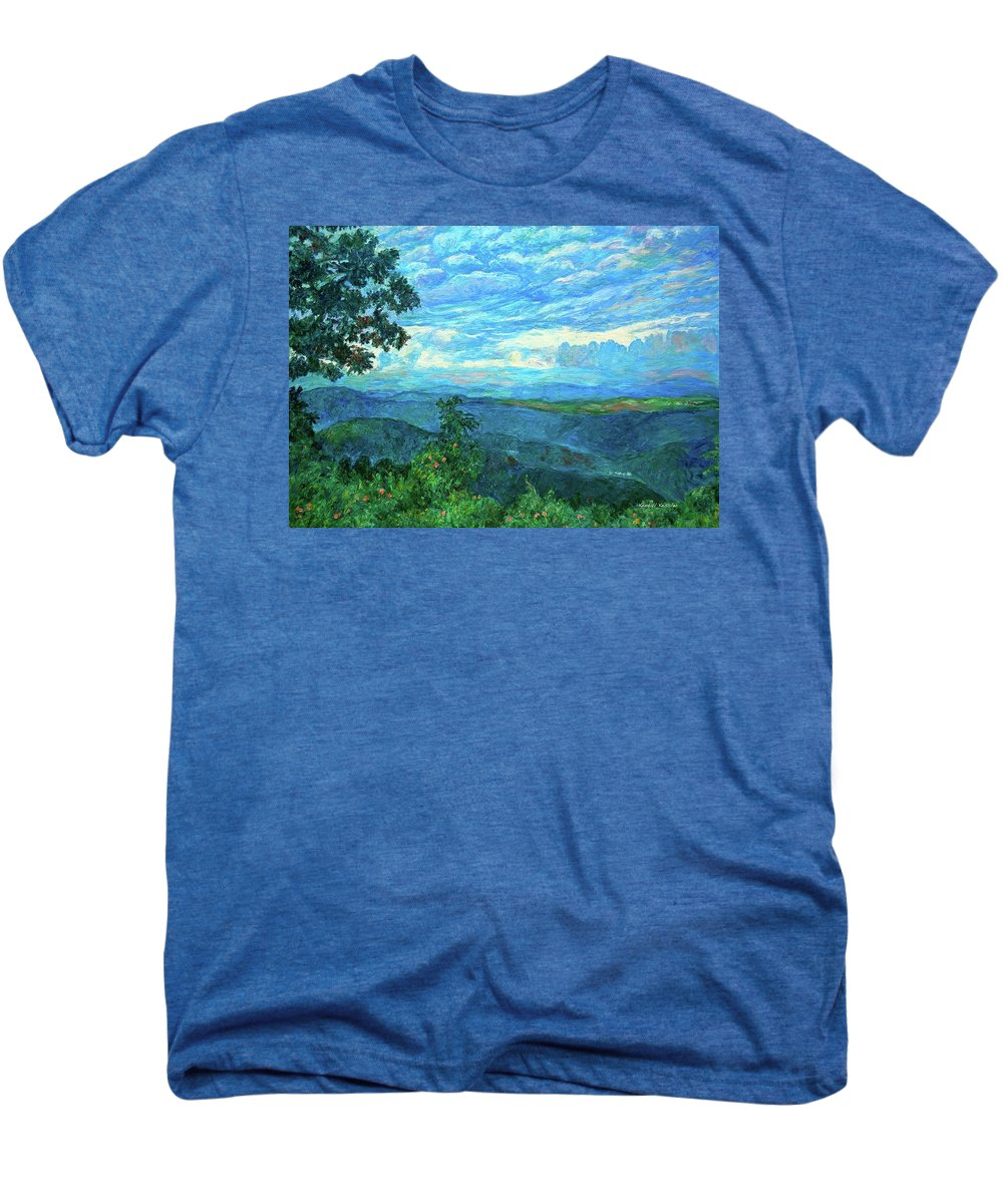 Mountains Men's Premium T-Shirt featuring the painting A Break In The Clouds by Kendall Kessler