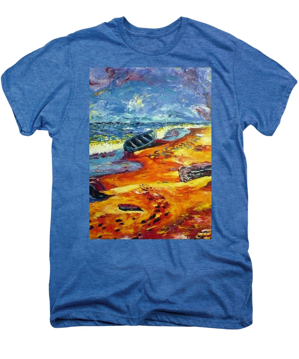 Landscape Men's Premium T-Shirt featuring the painting A Canoe At The Beach by Ericka Herazo