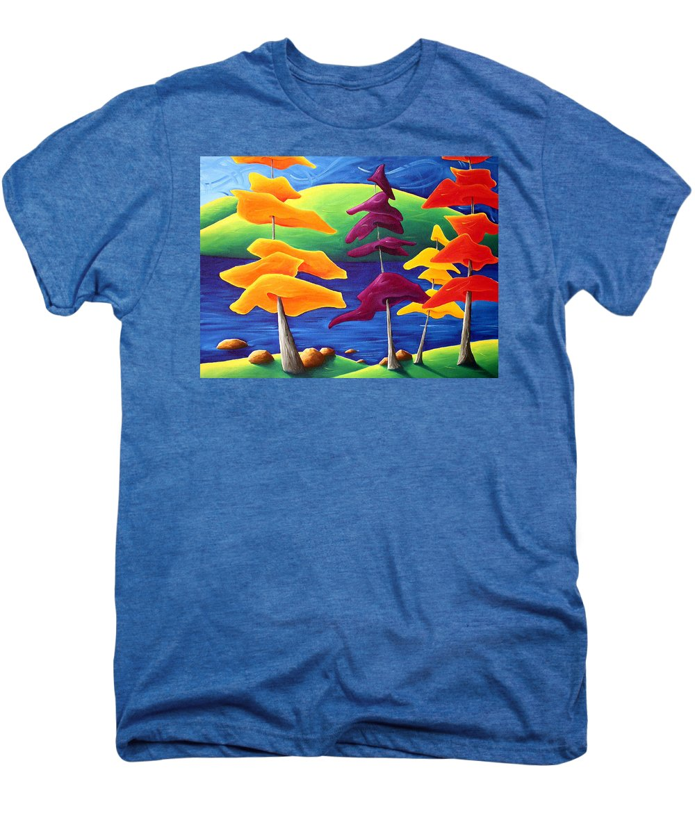 Landscape Men's Premium T-Shirt featuring the painting A Crowd Gathers by Richard Hoedl