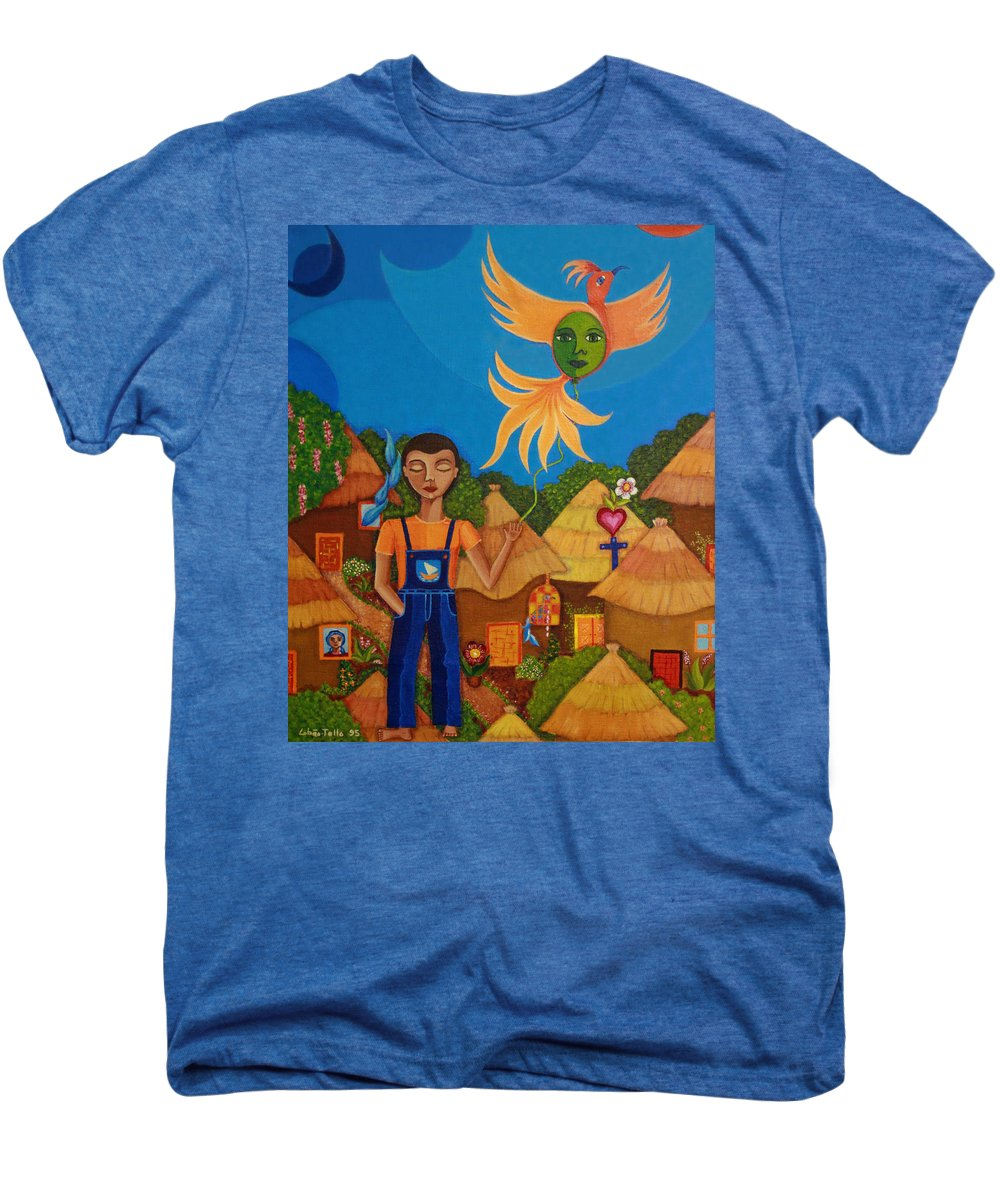 Autism Men's Premium T-Shirt featuring the painting Autism - A Flight To... by Madalena Lobao-Tello