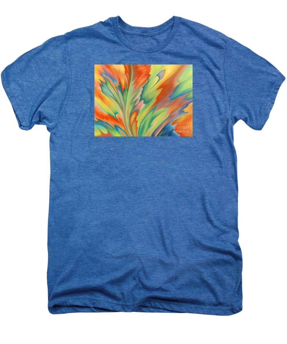 Abstract Men's Premium T-Shirt featuring the painting Autumn Flame by Lucy Arnold