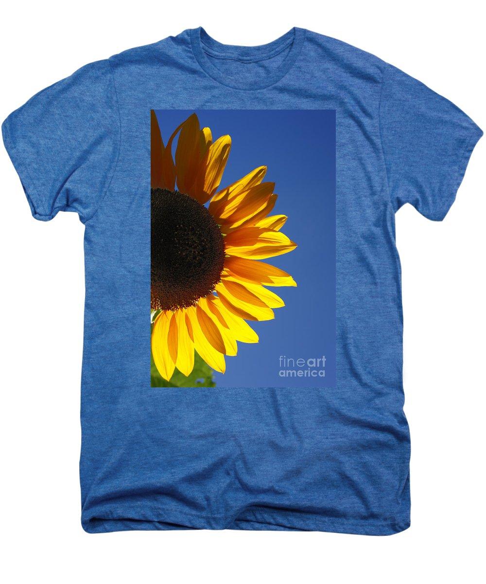 Back Light Men's Premium T-Shirt featuring the photograph Backlit Sunflower by Gaspar Avila