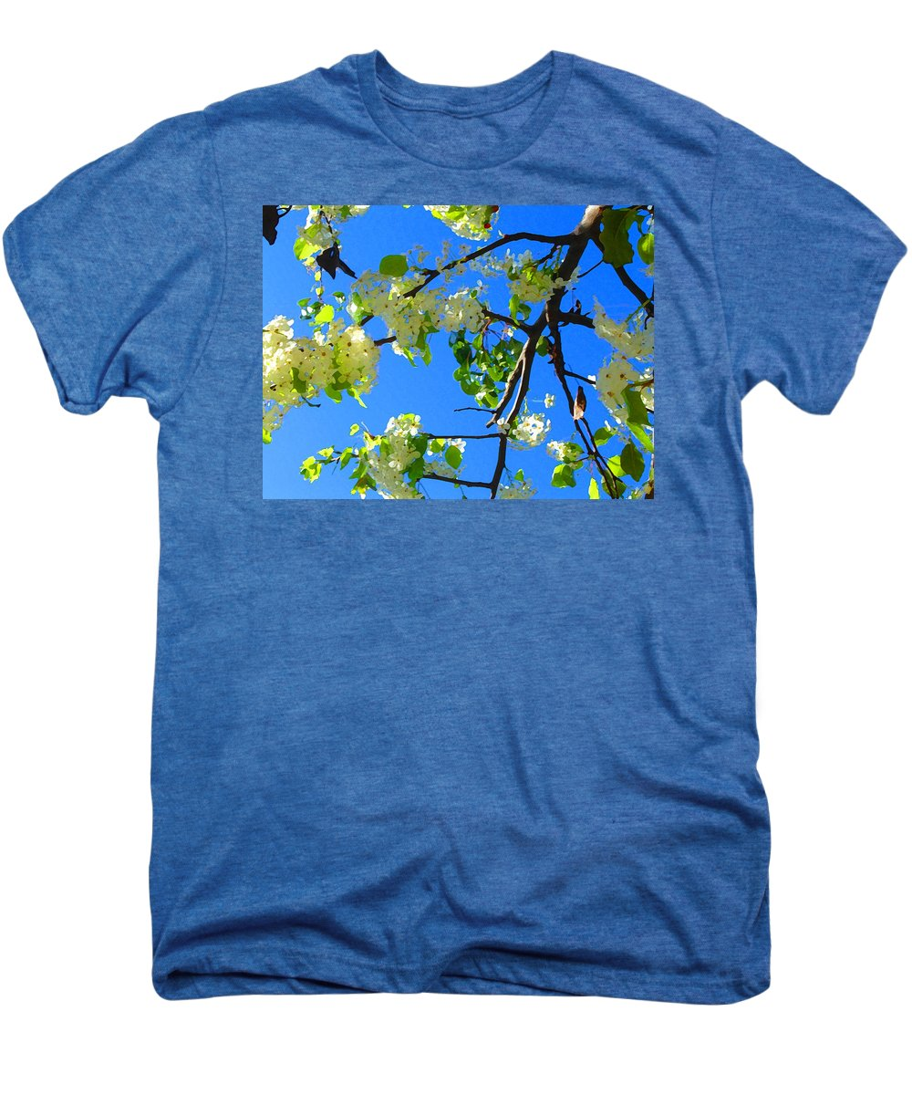 Tree Blossoms Men's Premium T-Shirt featuring the painting Backlit White Tree Blossoms by Amy Vangsgard