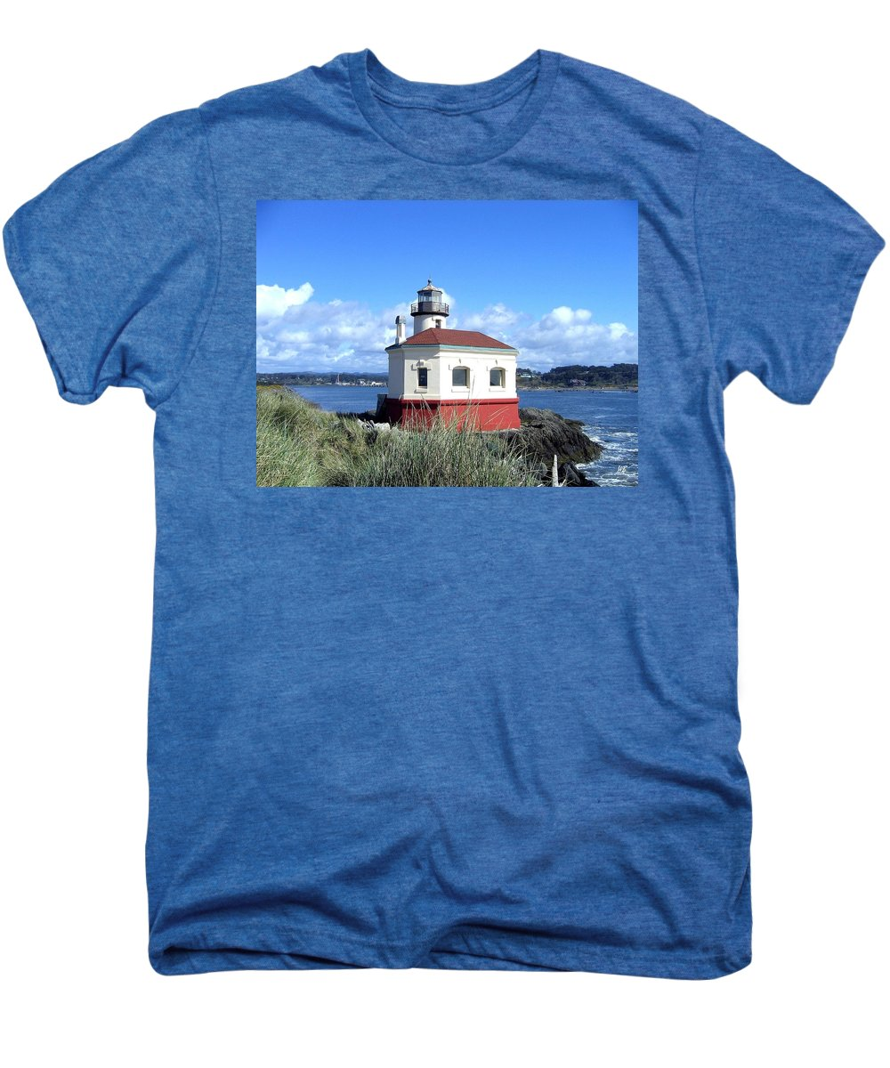 Coquille Lighthouse Men's Premium T-Shirt featuring the photograph Bandon 1 by Will Borden