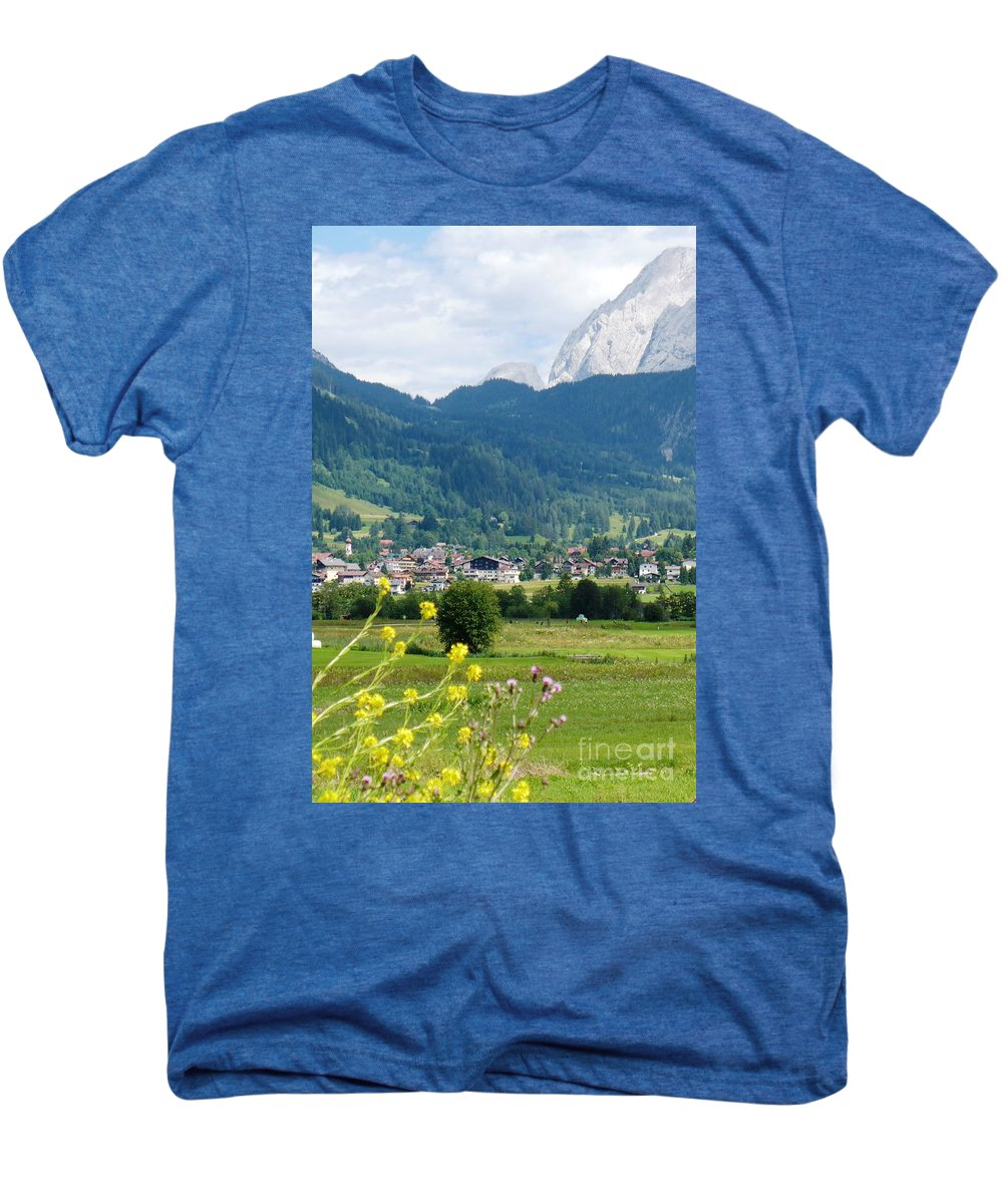 Bavaria Men's Premium T-Shirt featuring the photograph Bavarian Alps With Village And Flowers by Carol Groenen