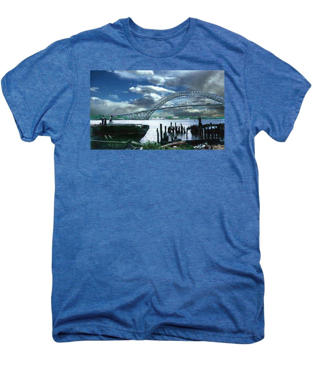 Seascape Men's Premium T-Shirt featuring the photograph Bayonne Bridge by Steve Karol