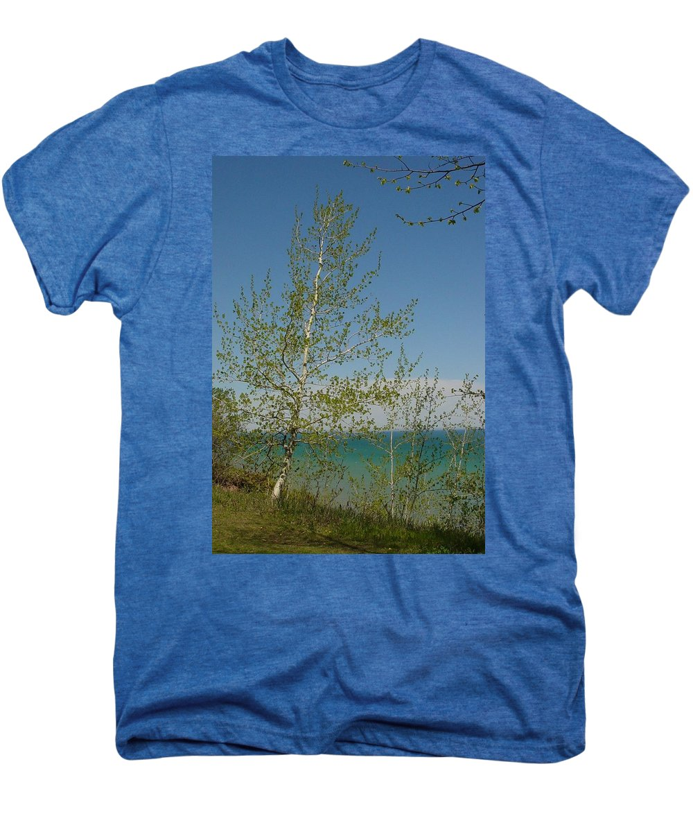Birch Tree Men's Premium T-Shirt featuring the photograph Birch Tree Over Lake by Anita Burgermeister