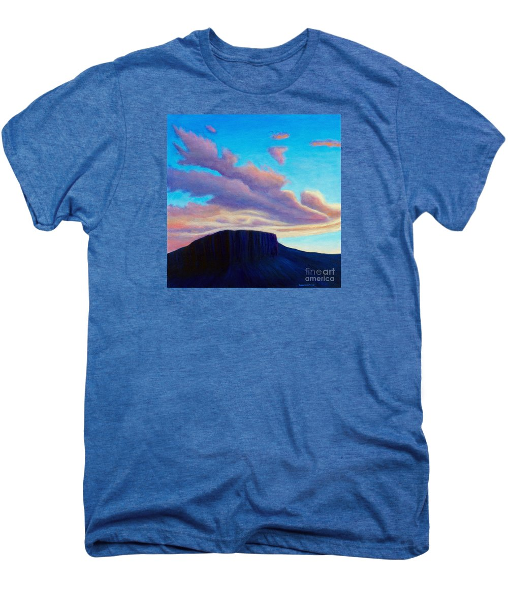 Landscape Men's Premium T-Shirt featuring the painting Black Mesa Sunset by Brian Commerford