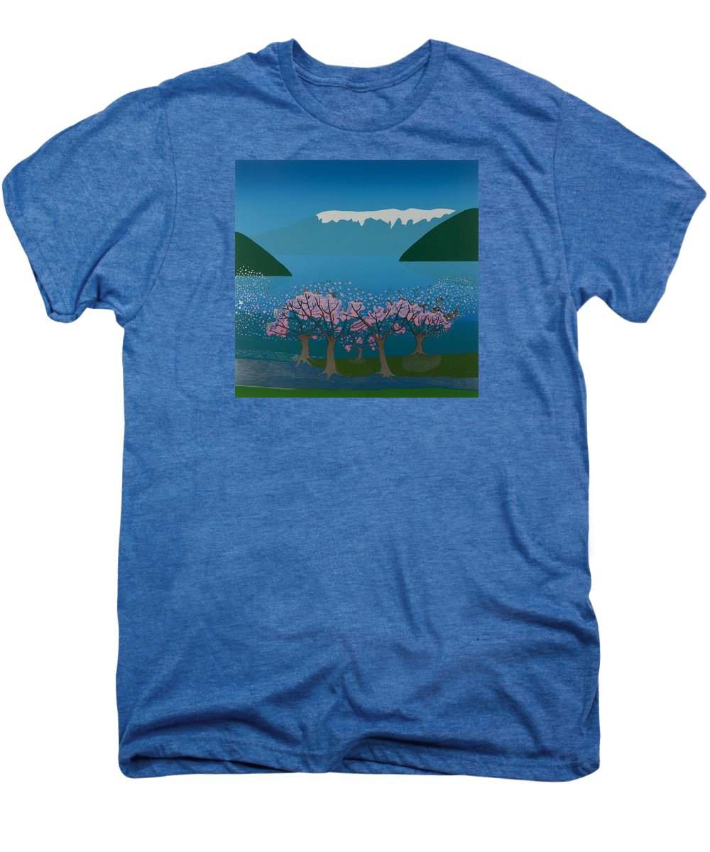 Landscape Men's Premium T-Shirt featuring the mixed media Blossom In The Hardanger Fjord by Jarle Rosseland