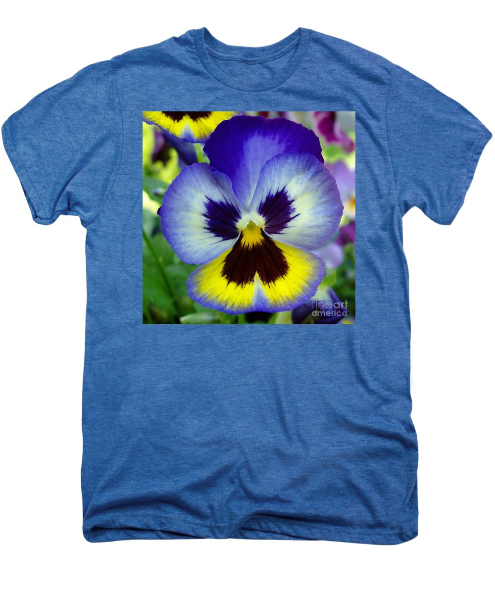 Flowers Men's Premium T-Shirt featuring the photograph Blue And Yellow Pansy by Nancy Mueller