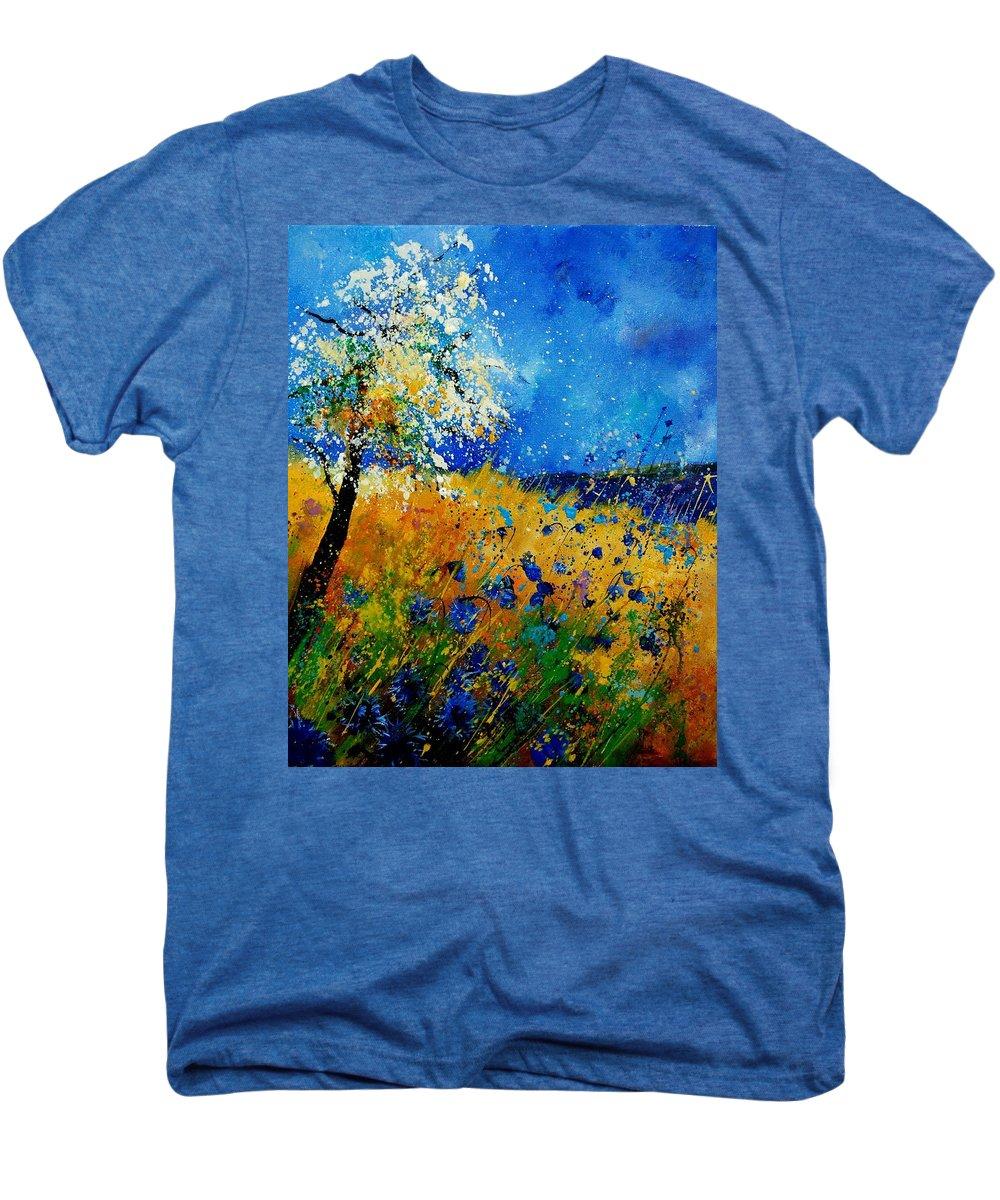 Poppies Men's Premium T-Shirt featuring the painting Blue Cornflowers 450108 by Pol Ledent