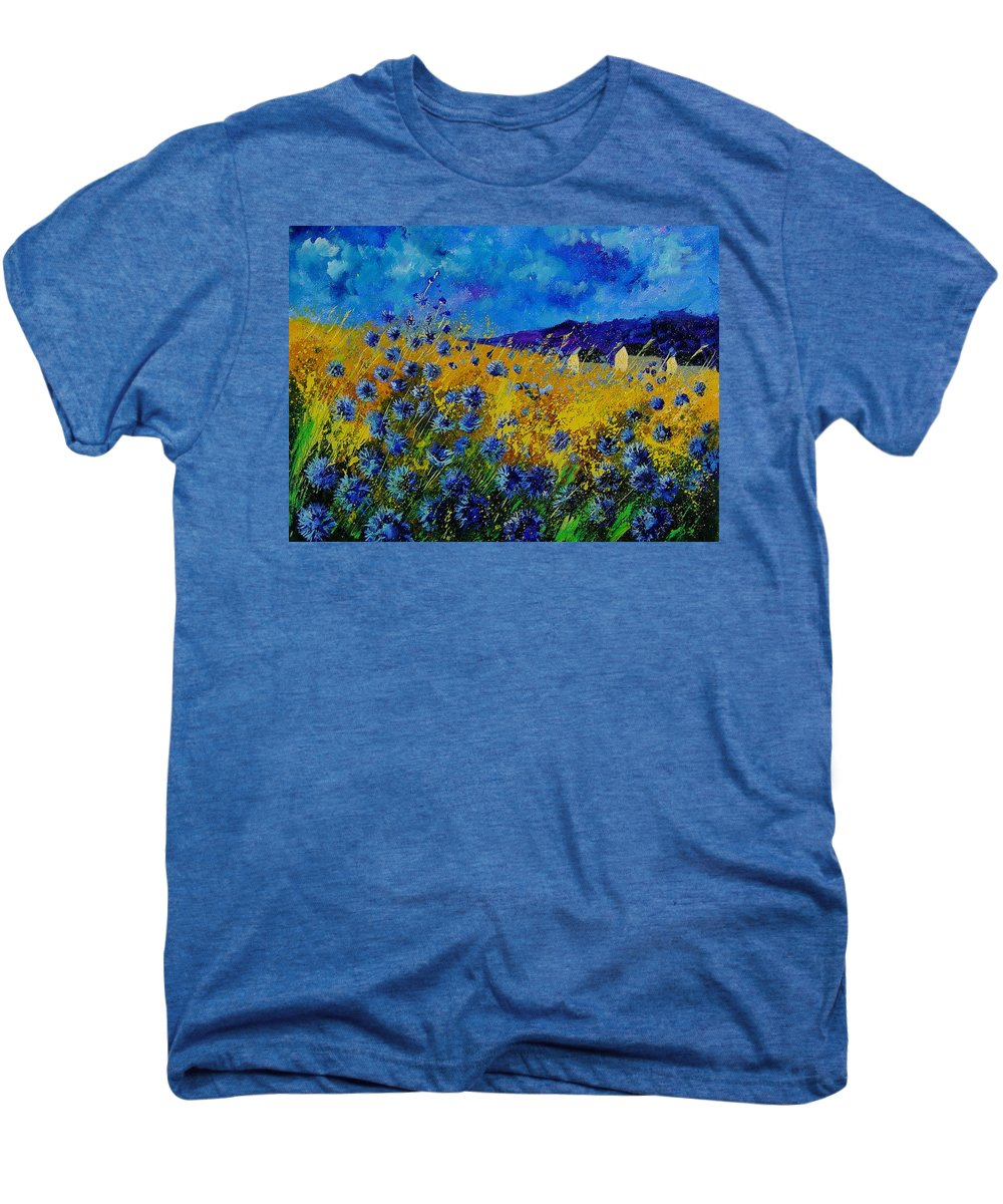 Poppies Men's Premium T-Shirt featuring the painting Blue Cornflowers by Pol Ledent