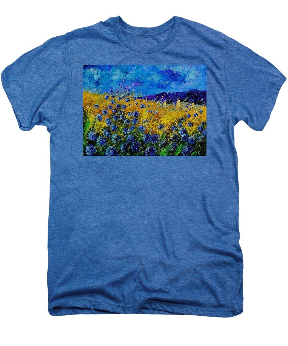 Poppies Men's Premium T-Shirt featuring the painting Blue Cornflowers by Pol Ledent
