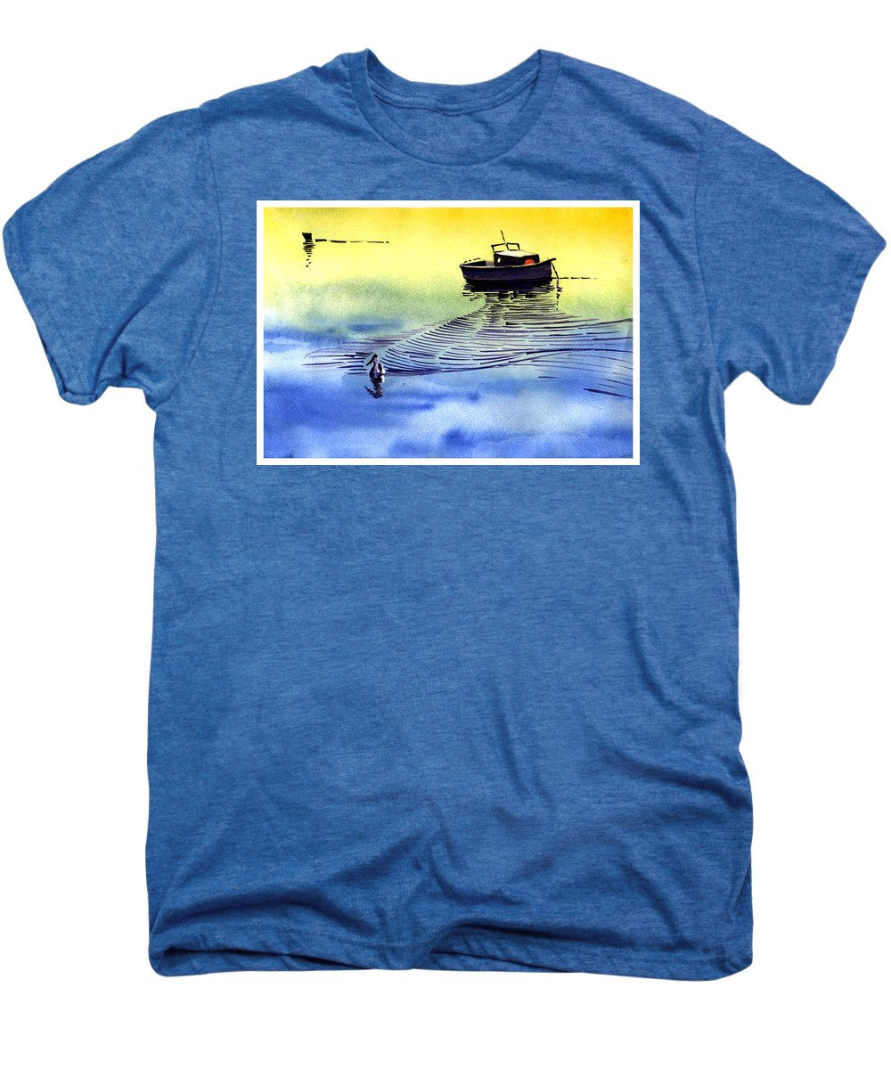 Watercolor Men's Premium T-Shirt featuring the painting Boat And The Seagull by Anil Nene
