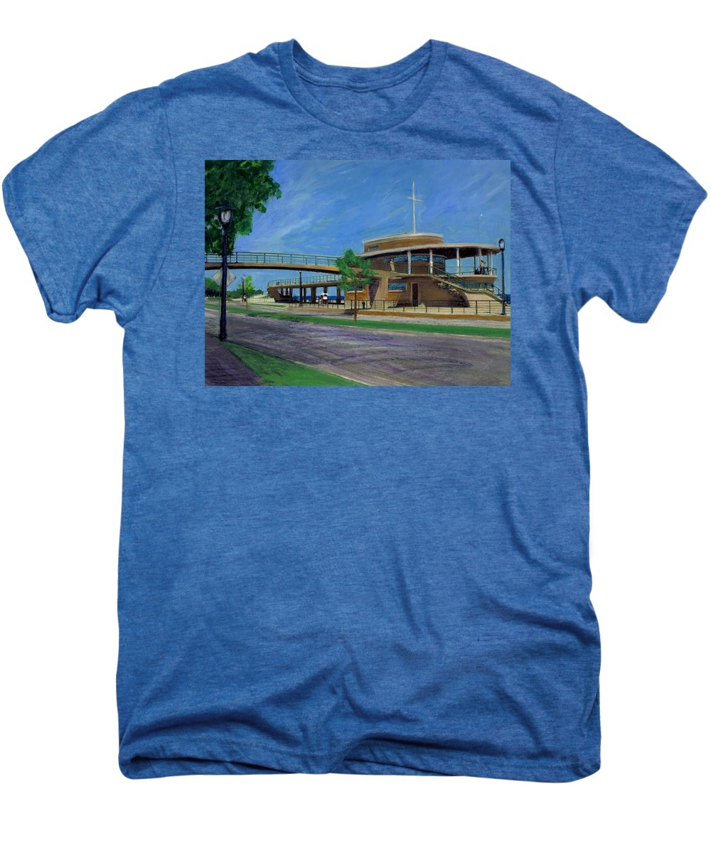 Miexed Media Men's Premium T-Shirt featuring the mixed media Bradford Beach House by Anita Burgermeister