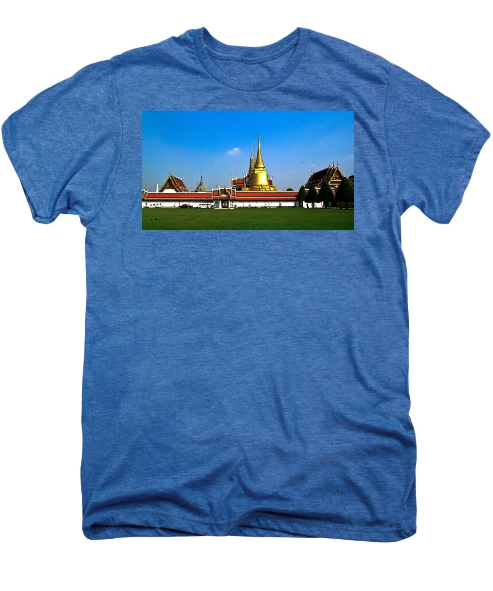 Buddha Men's Premium T-Shirt featuring the photograph Buddhaist Temple by Douglas Barnett