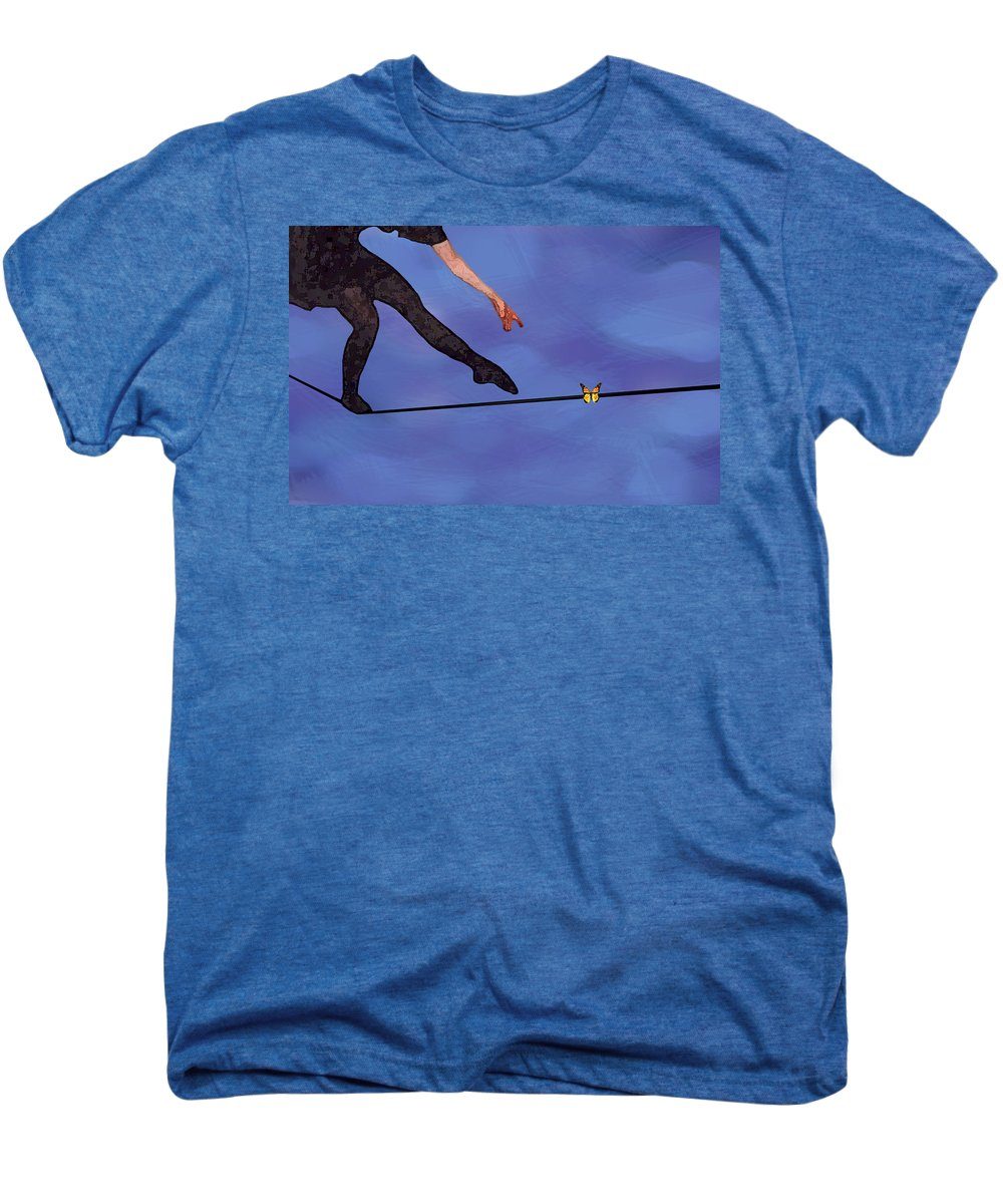 Surreal Men's Premium T-Shirt featuring the painting Catching Butterflies by Steve Karol