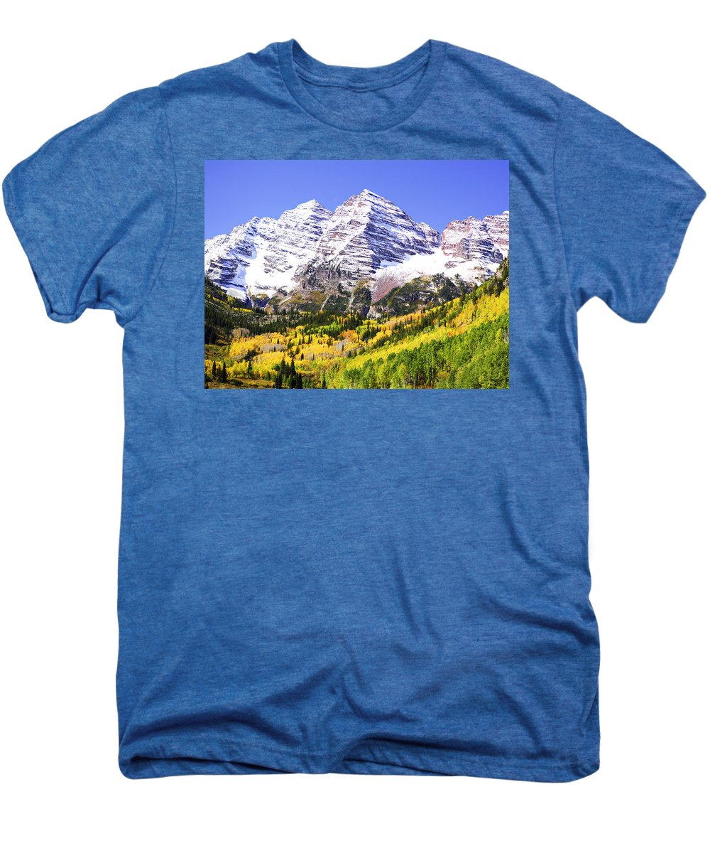 Americana Men's Premium T-Shirt featuring the photograph Classic Maroon Bells by Marilyn Hunt