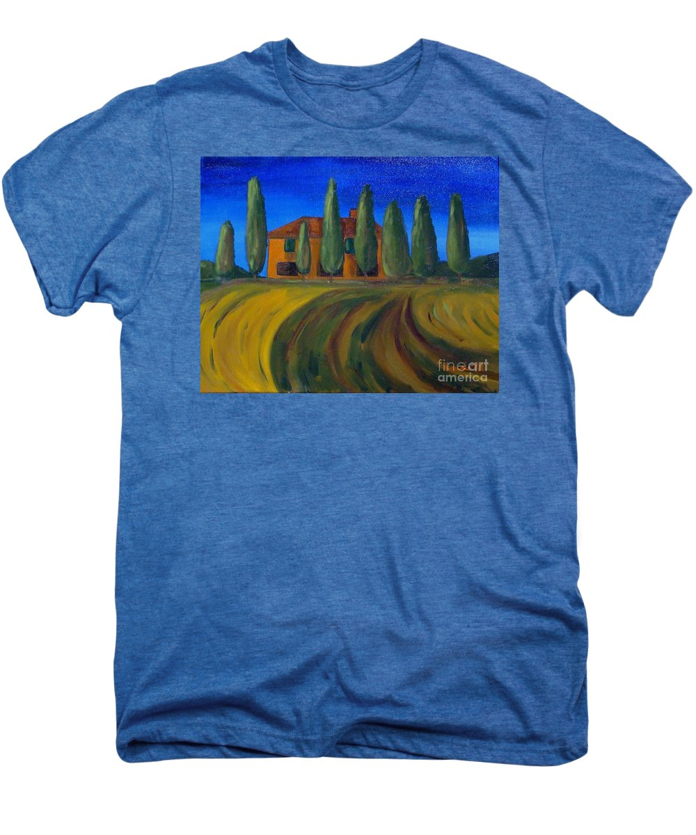 Tuscany Men's Premium T-Shirt featuring the painting Classic Tuscan Sunset by Laurie Morgan