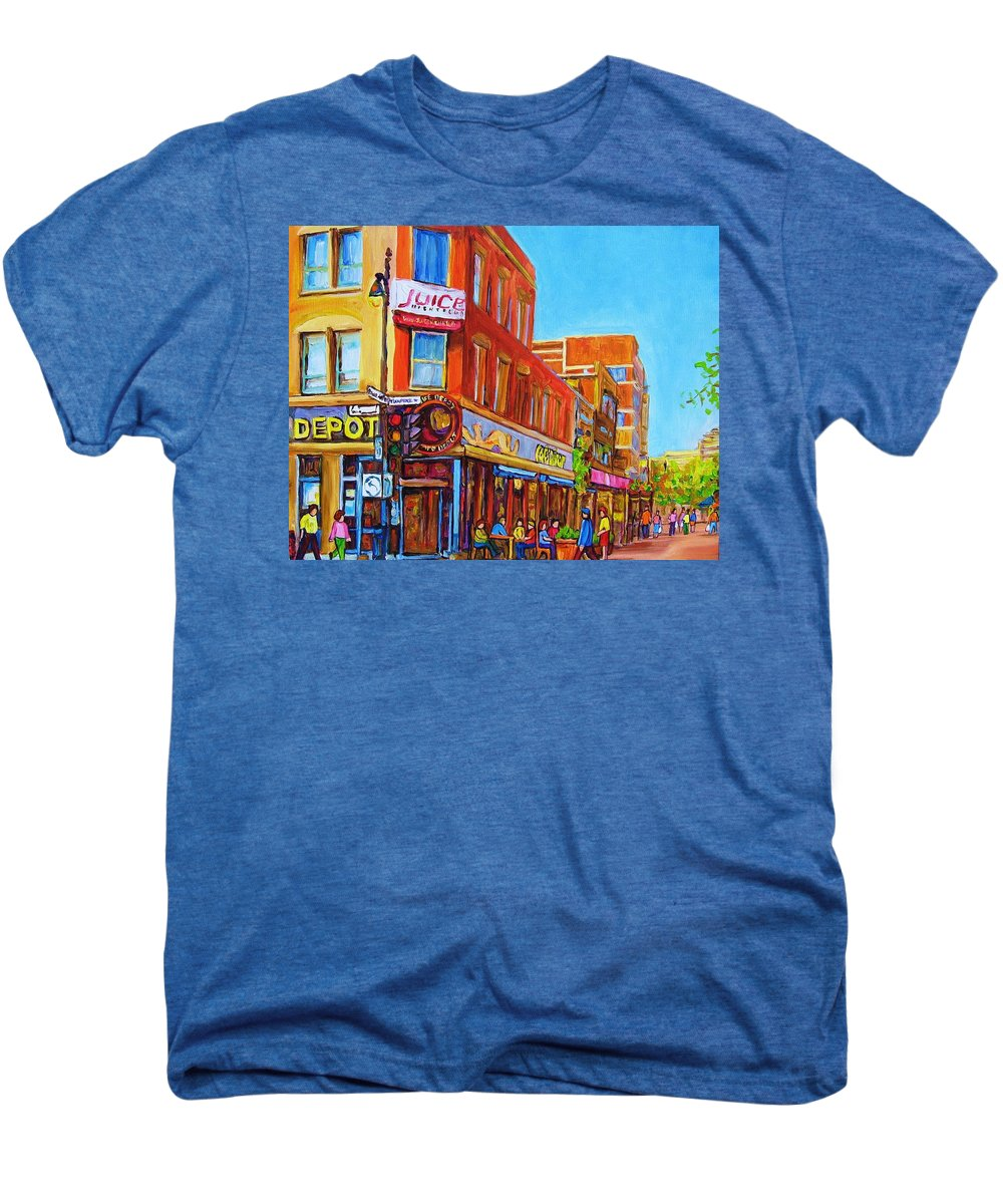 Cityscape Men's Premium T-Shirt featuring the painting Coffee Depot Cafe And Terrace by Carole Spandau