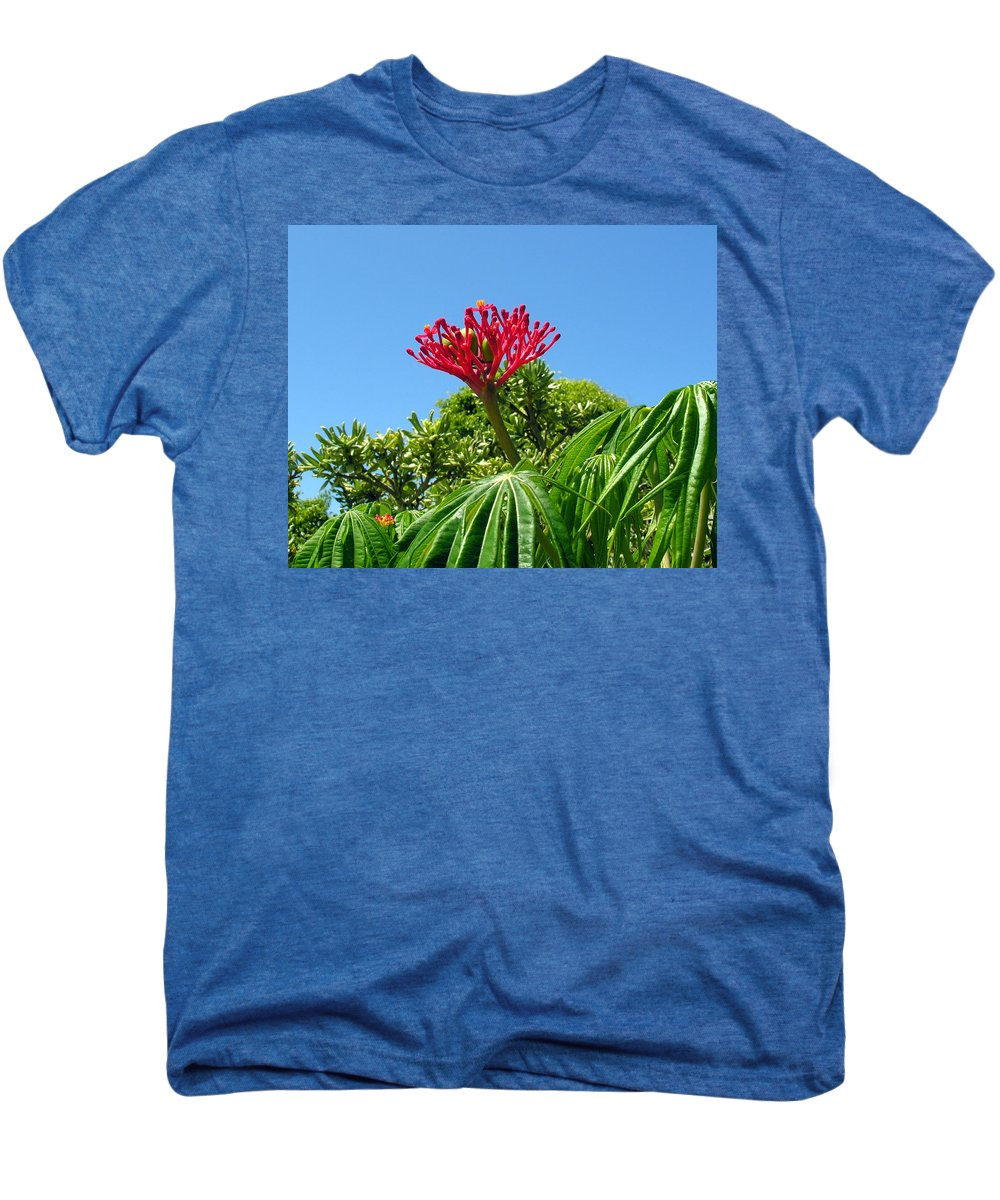 Coral; Bush; Coralbush; Weed; Flower; Leaf; Leaves; Fruit; Nut; Seed; Florida; Wild; Vacant; Lots; N Men's Premium T-Shirt featuring the photograph Coral Bush With Flower And Fruit by Allan Hughes