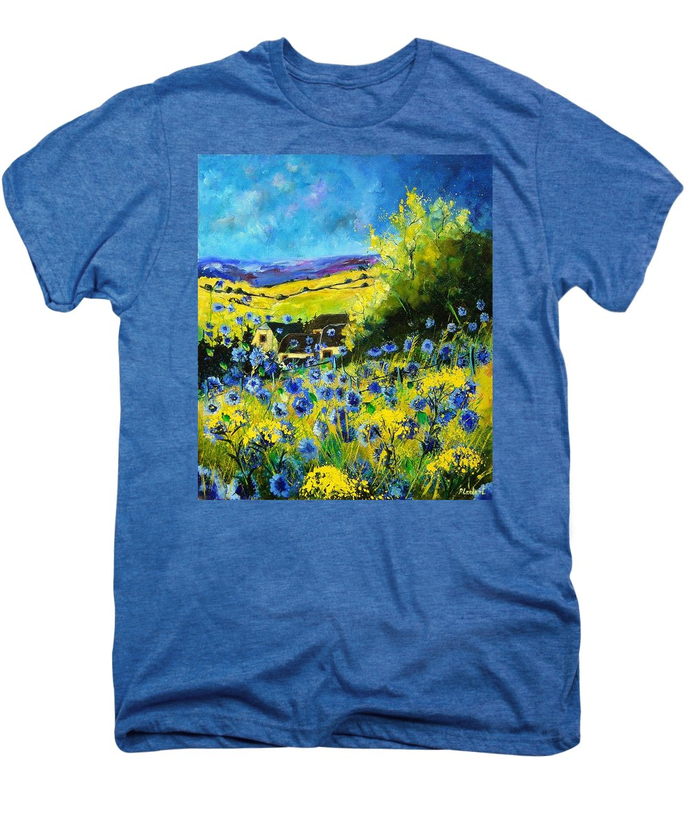 Flowers Men's Premium T-Shirt featuring the painting Cornflowers In Ver by Pol Ledent